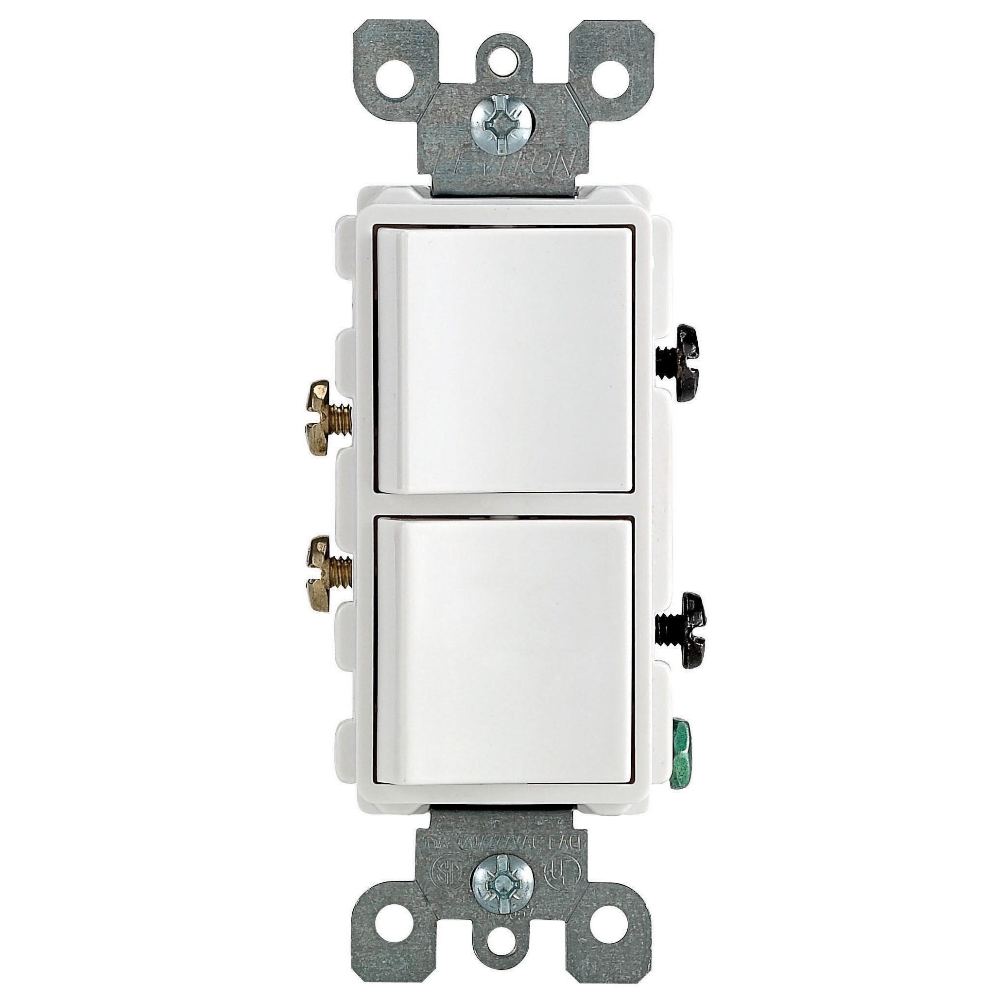 Leviton R62-05634-00W 15 Amp White Decora Dual Switch - Free ...