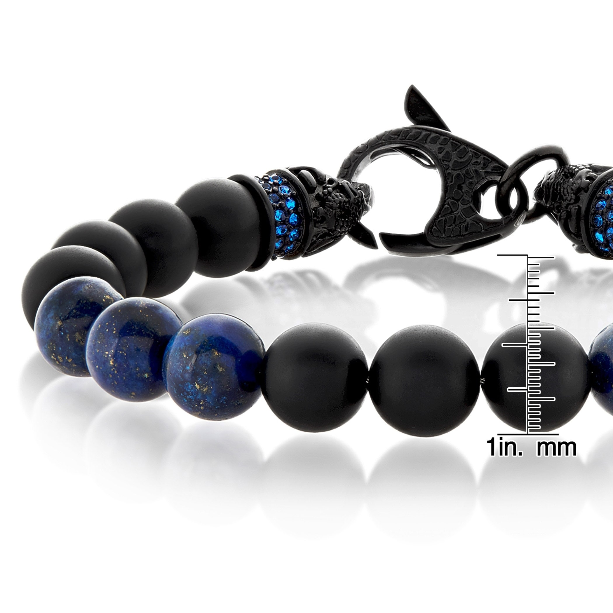 mens overstock inches men free watches jewelry bead over onyx s orders stretch crucible matte shipping wide product bracelet black on