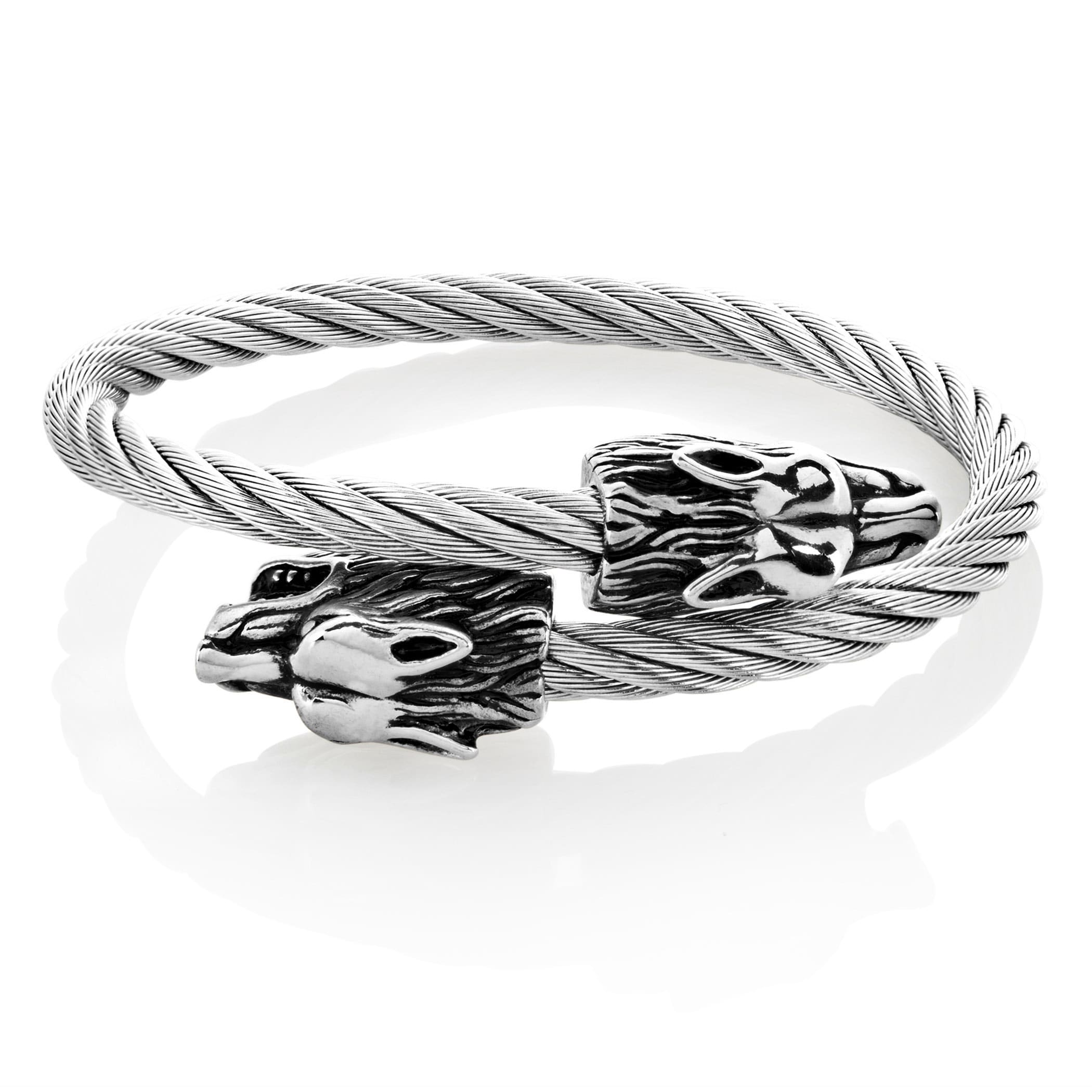 Shop Crucible Men\'s Stainless Steel Twin Wolf Cable Cuff 9-inch 24mm ...