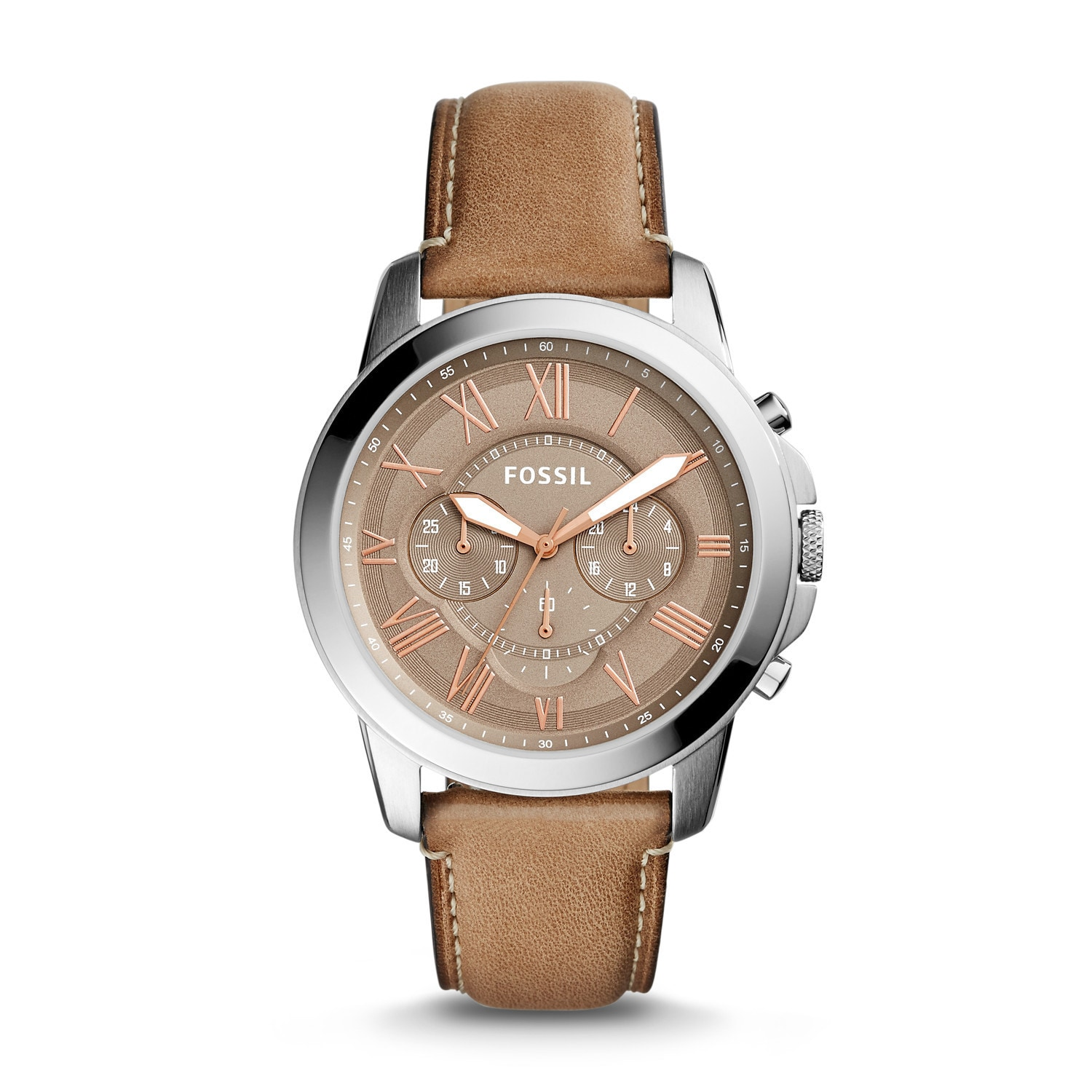 ad7db5dd8 Shop Fossil Men's Grant Chronograph Brown Dial Light Brown Leather Watch -  Free Shipping Today - Overstock - 12372430