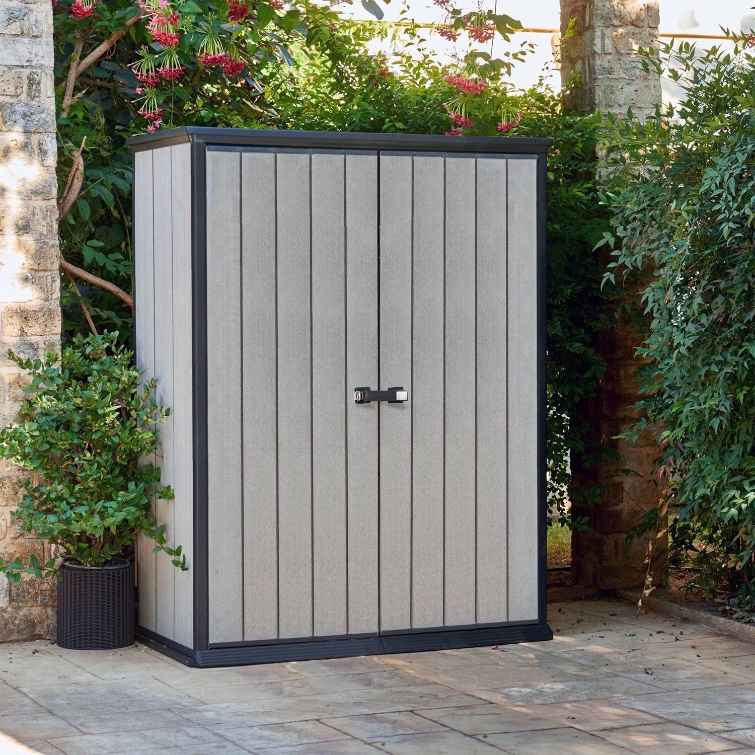 Keter High Store Grey Wood Look Outdoor Vertical Garden Storage Shed