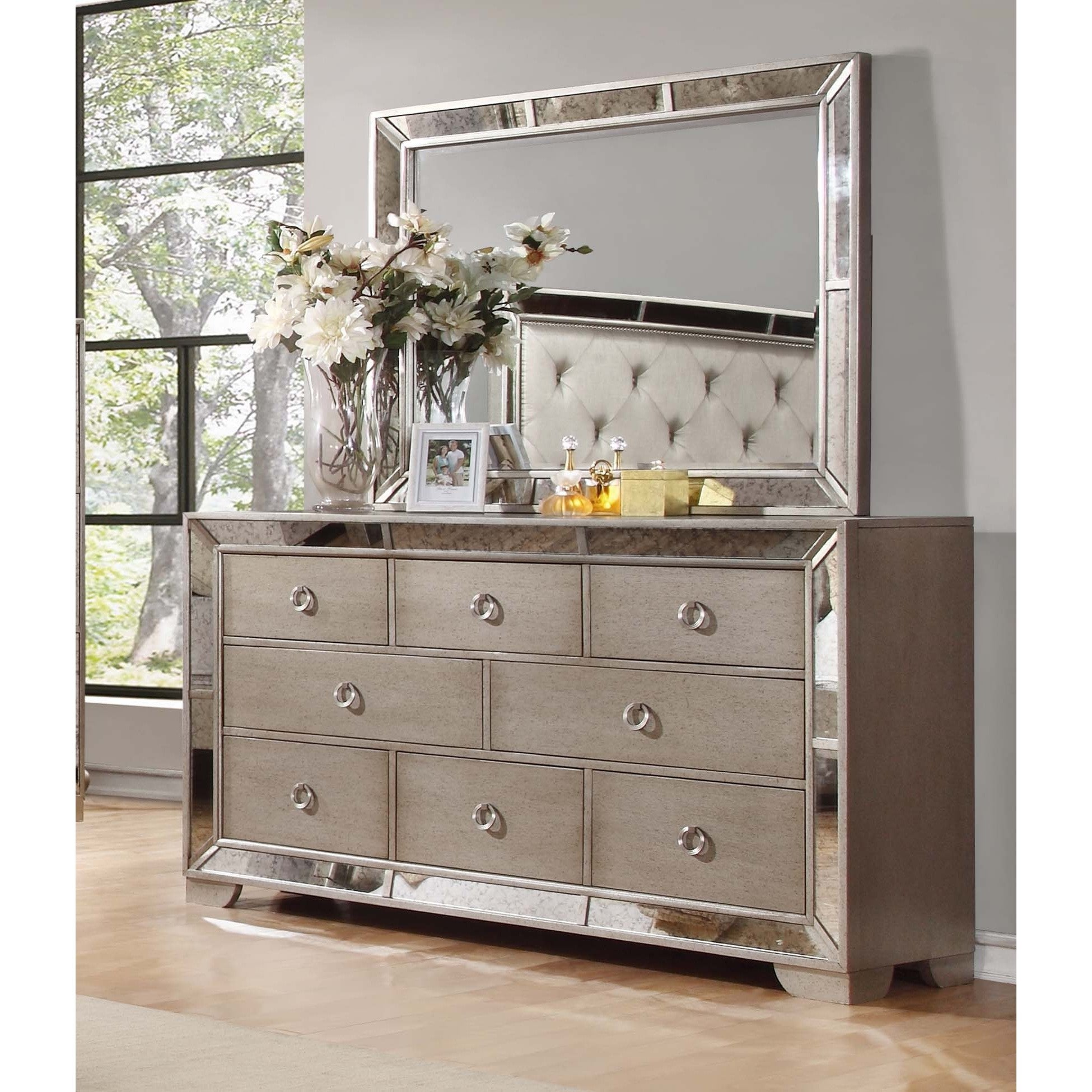 Shop best master furniture silver bronze dresser and mirror free shipping today overstock com 12376543