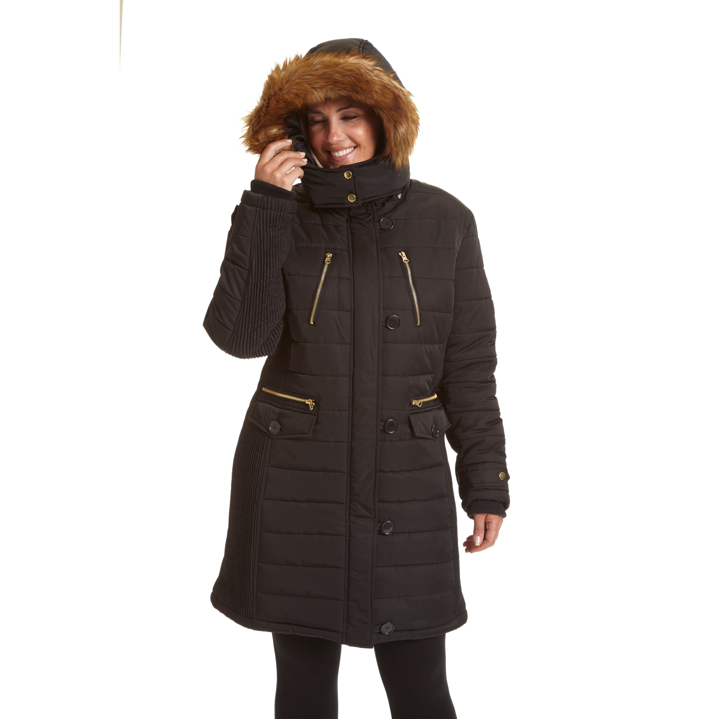 dee3a429f476a Shop Excelled Women s Plus Size 3 4-length Hooded Puffer Coat - Free  Shipping Today - Overstock - 12381902