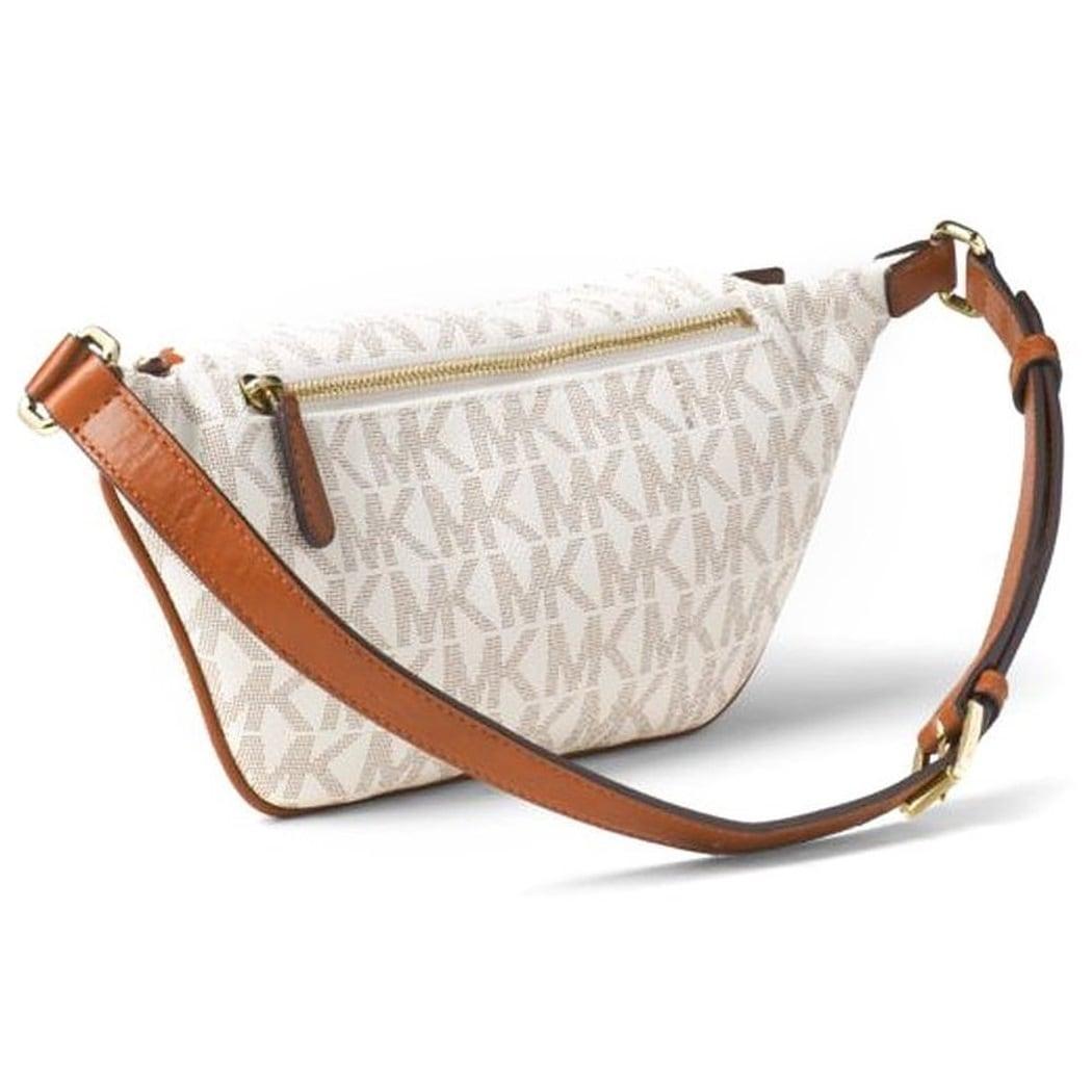 e14de5ce9a57d1 Shop Michael Kors Small Rhea Vanilla Zip Signature Belt Bag - Free Shipping  Today - Overstock - 12382047