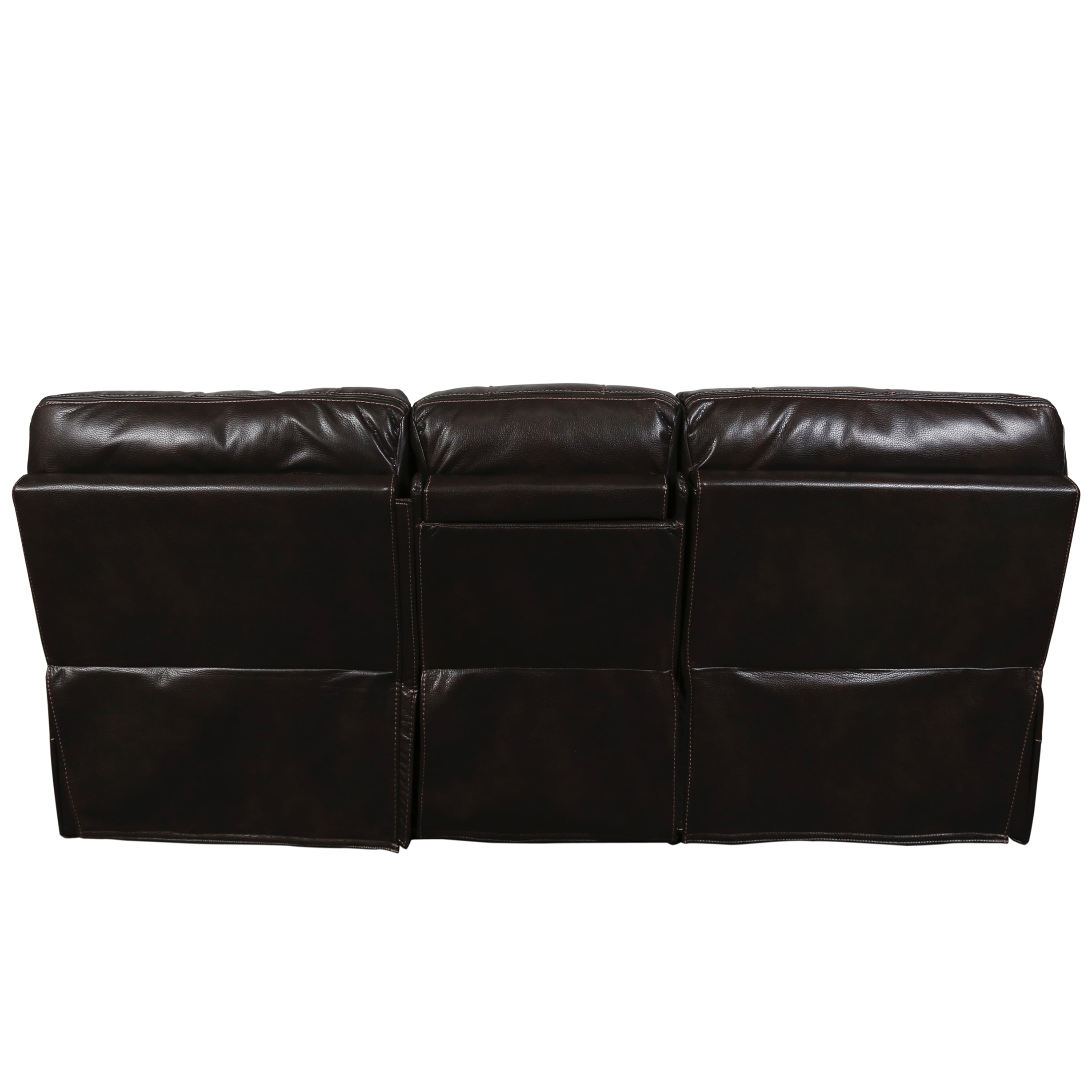 Shop Porter Alameda Chocolate Brown Leatherlike Dual Reclining Sofa
