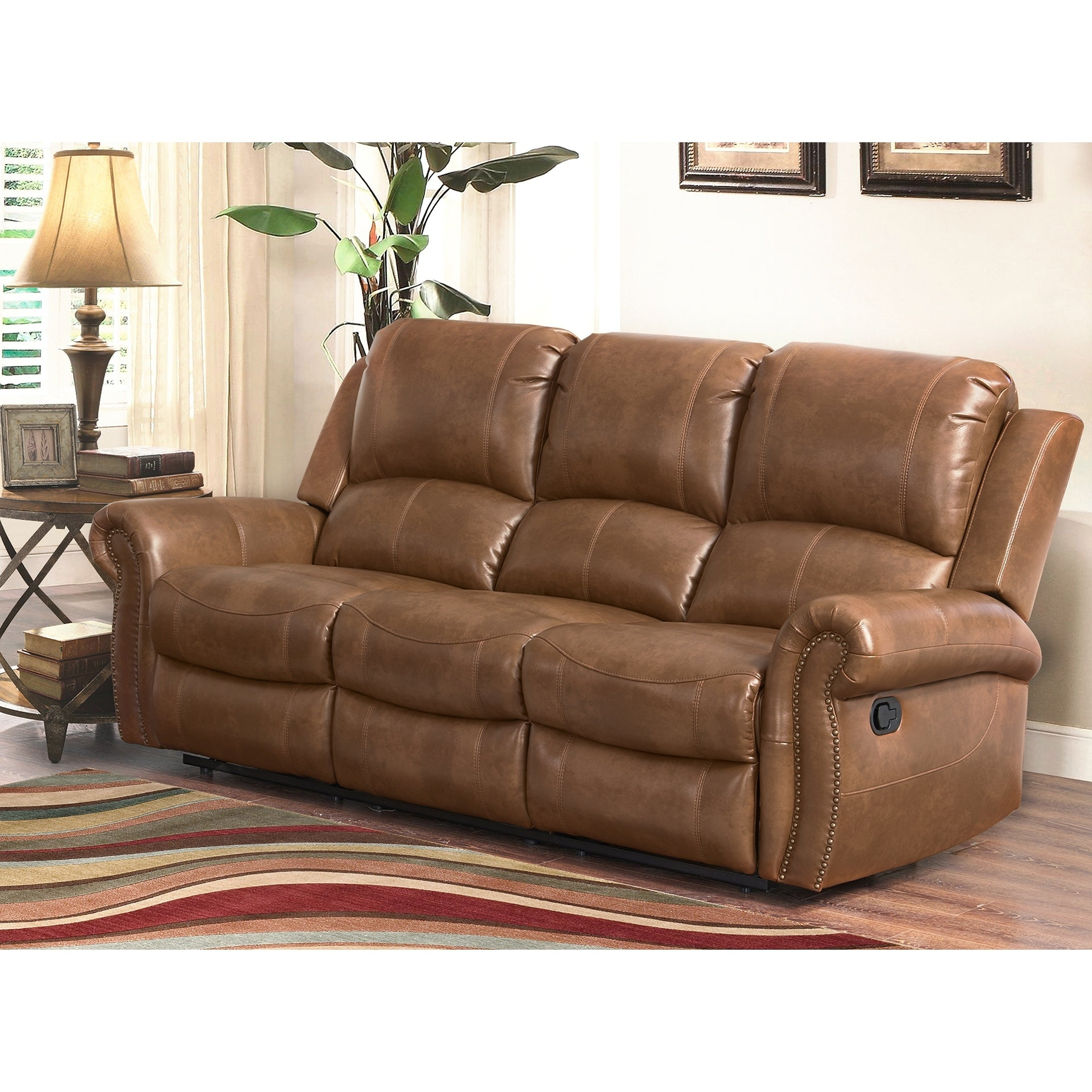 Shop Abbyson Skyler Cognac Leather Reclining Sofa - On Sale - Free ...