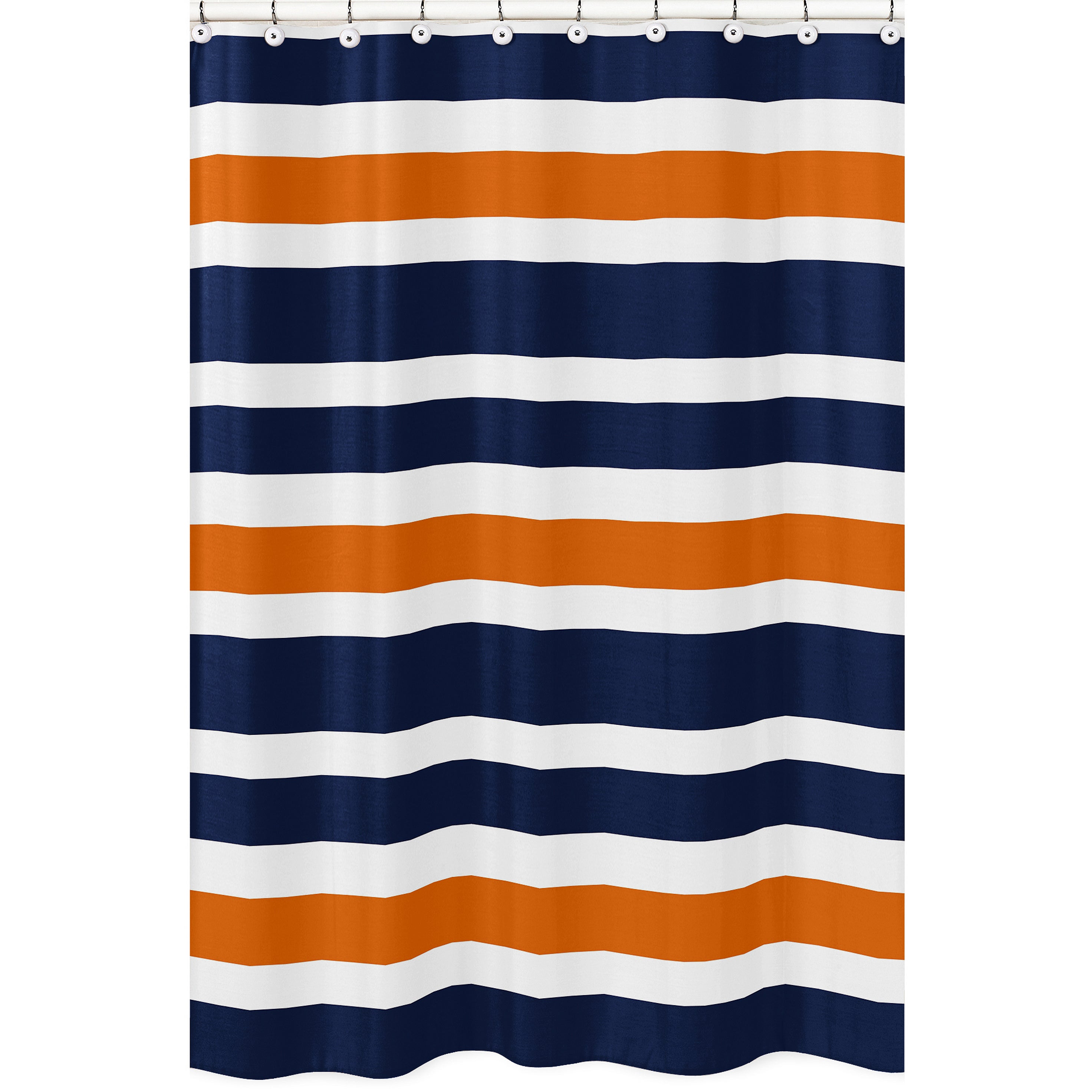 Shop Navy Blue And Orange Stripe Shower Curtain
