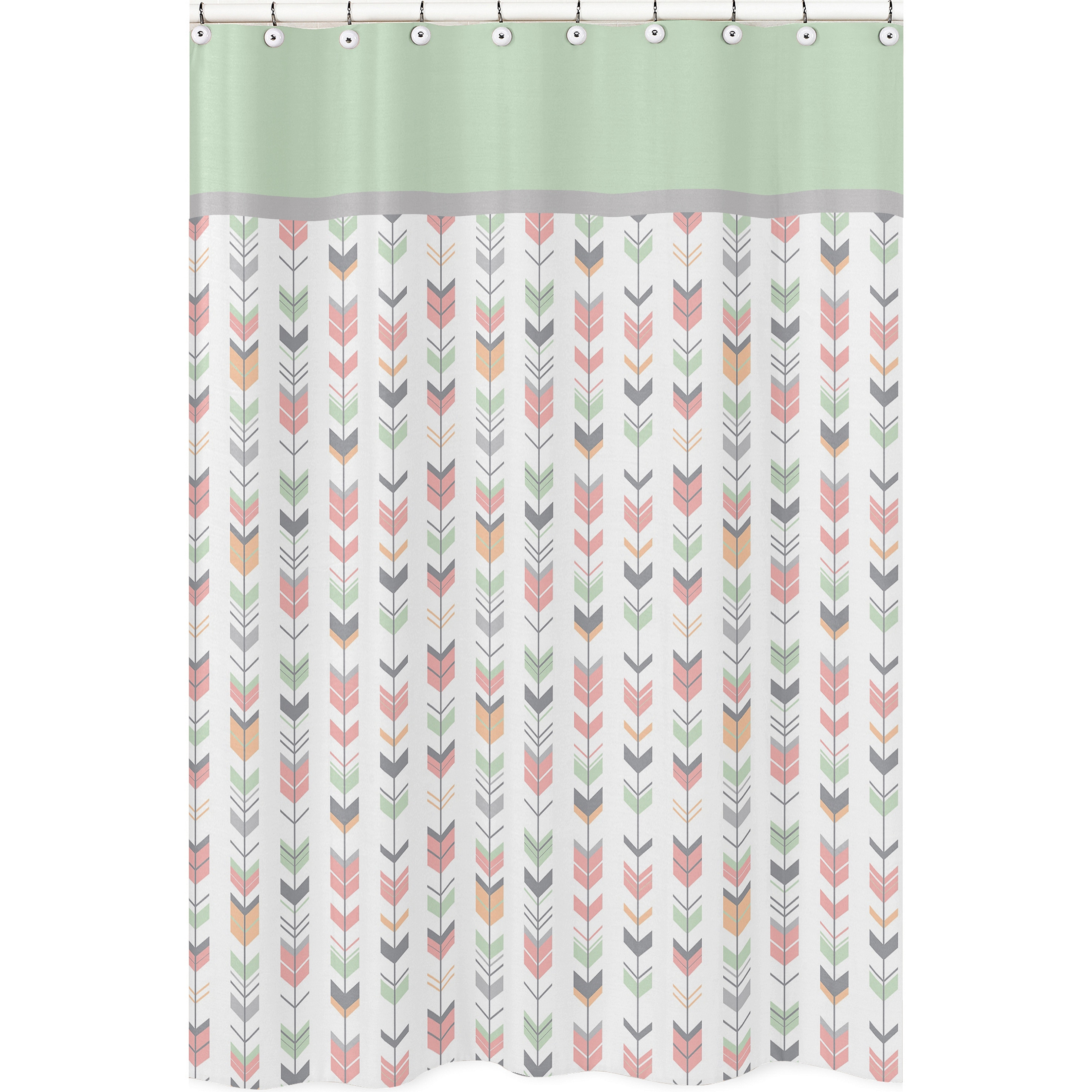 Shop Coral And Mint Mod Arrow Shower Curtain