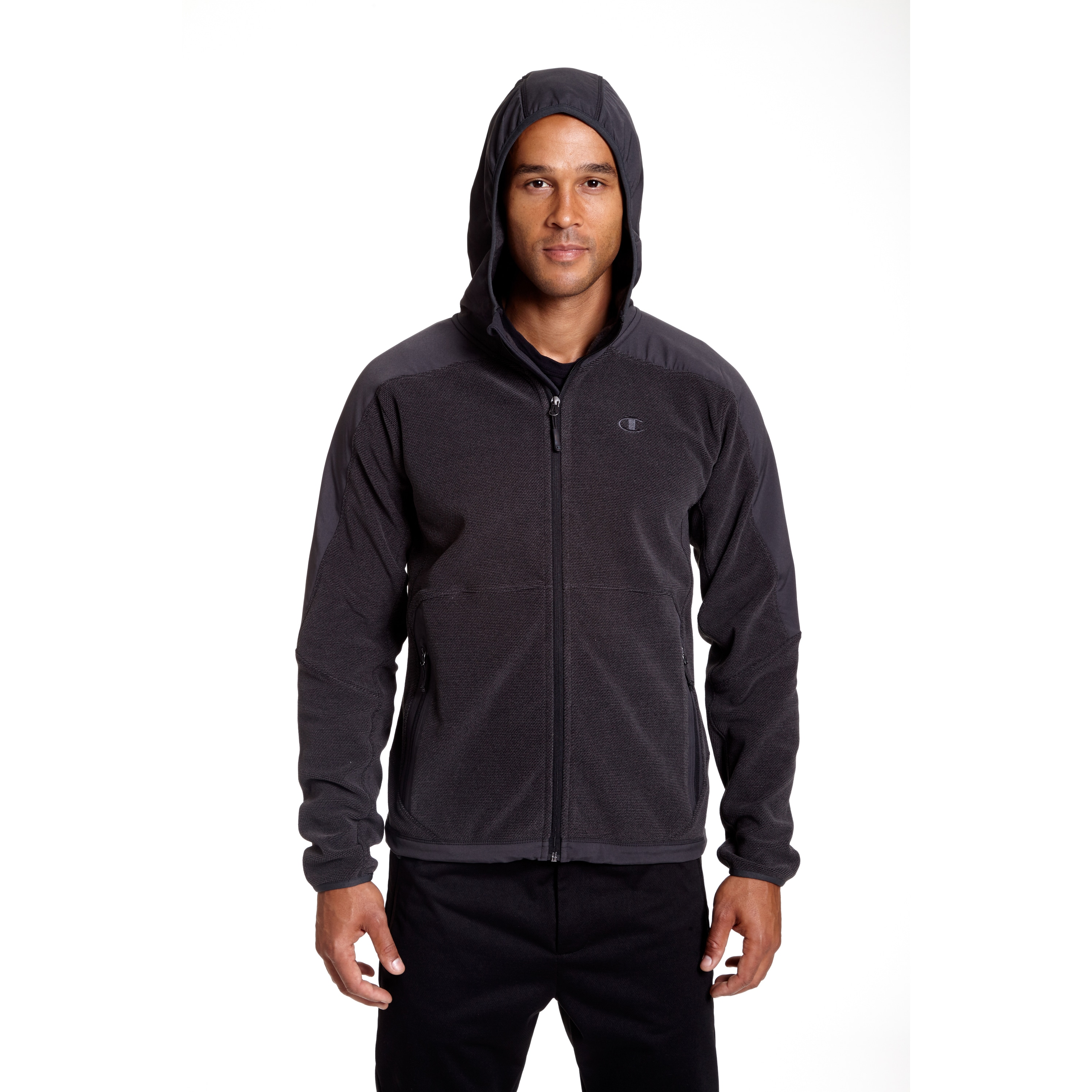 a549f525e79 Shop Champion Men s Big and Tall 4-way Stretch Overlay Hooded Textured  Fleece Jacket - Free Shipping Today - Overstock - 12383340