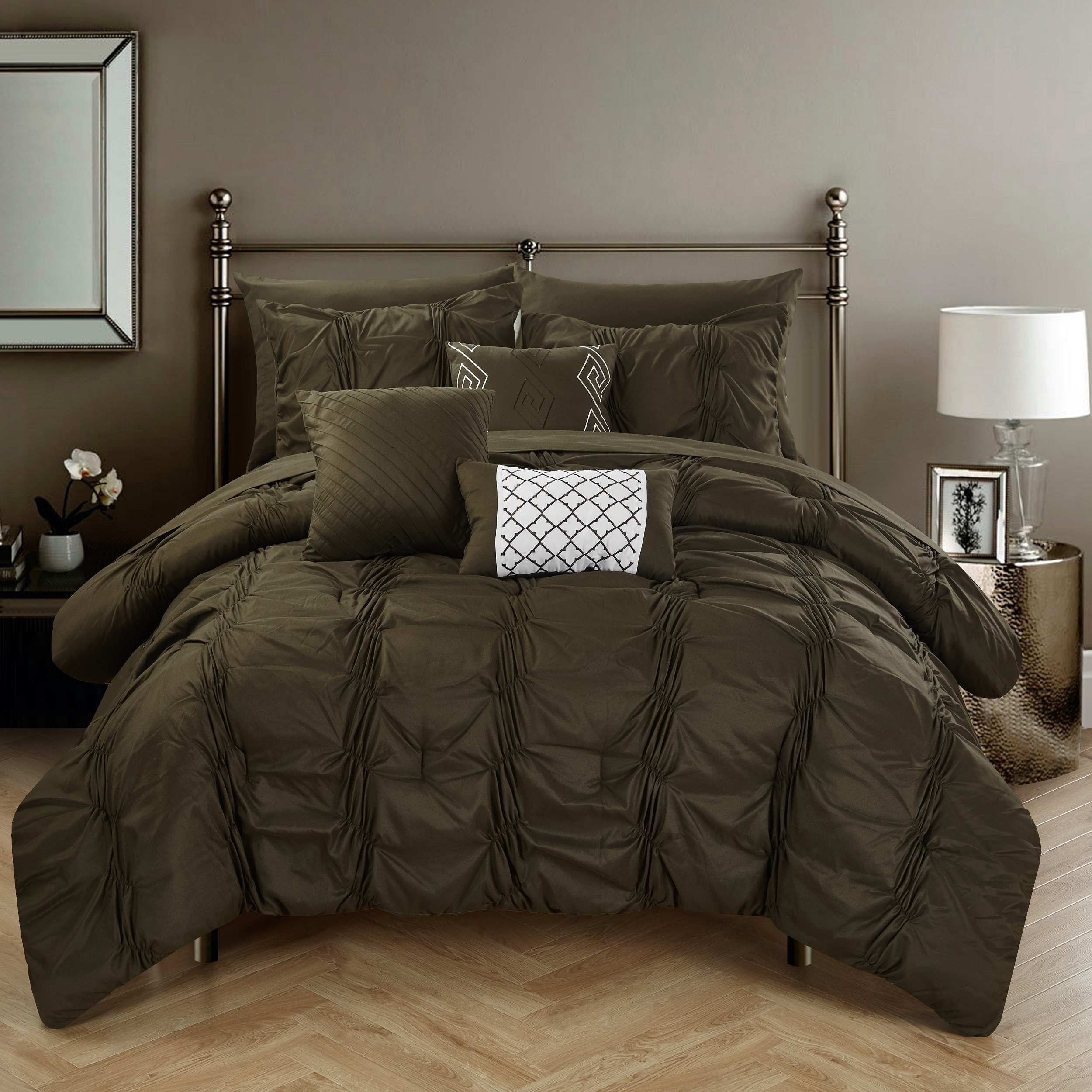 Chic Home Luna Brown Bed In A Bag Comforter 10 Piece Set On Free Shipping Today 12383724