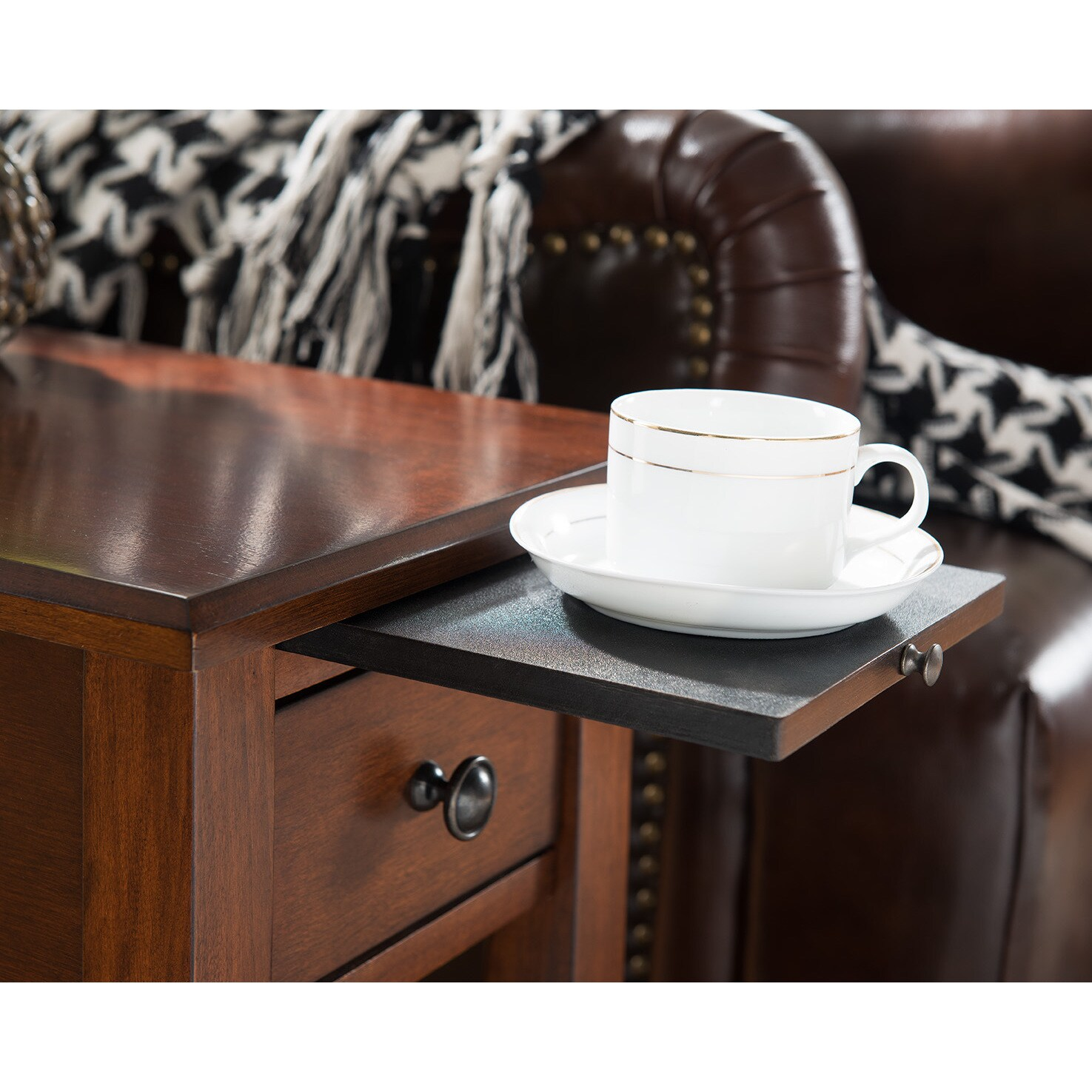 Clay Alder Home Van Metre Espresso Side Table With Charging Station Free Shipping Today 20931406