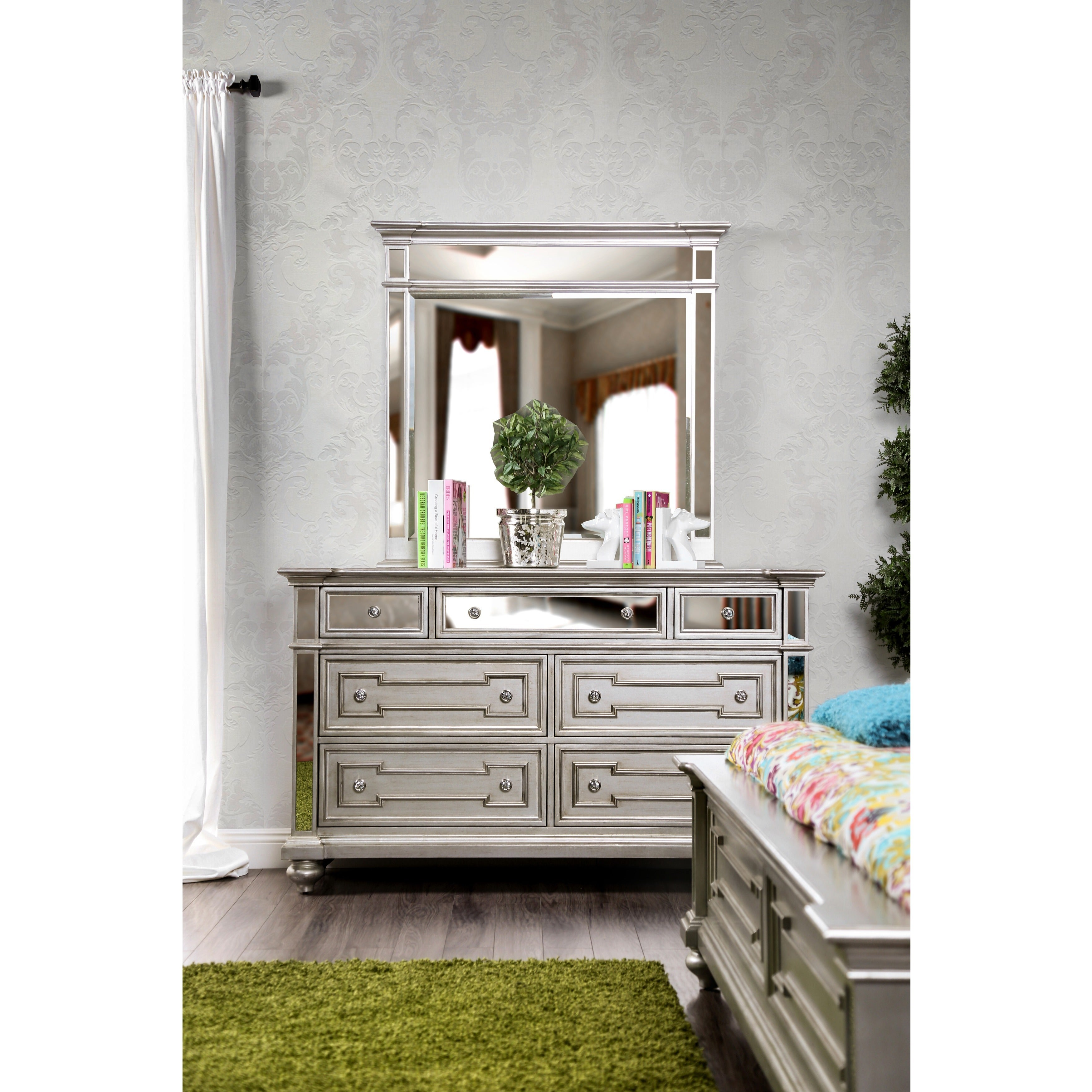set mirrored desk drawers cheap grey unfinished wayfair mirror silver with wood dresser nightstand