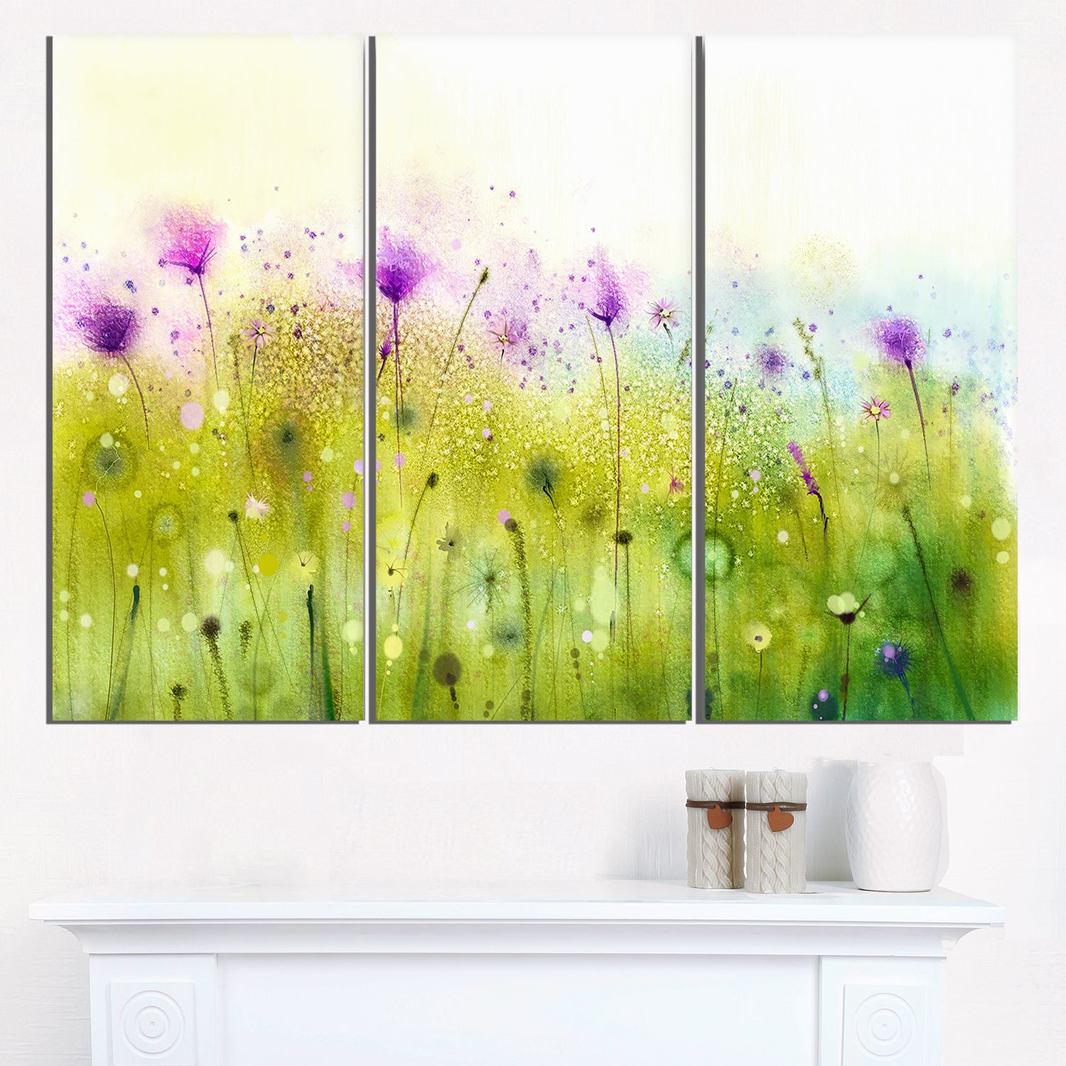 Green Purple Abstract Cosmos of Flowers - Large Flower Canvas Wall ...