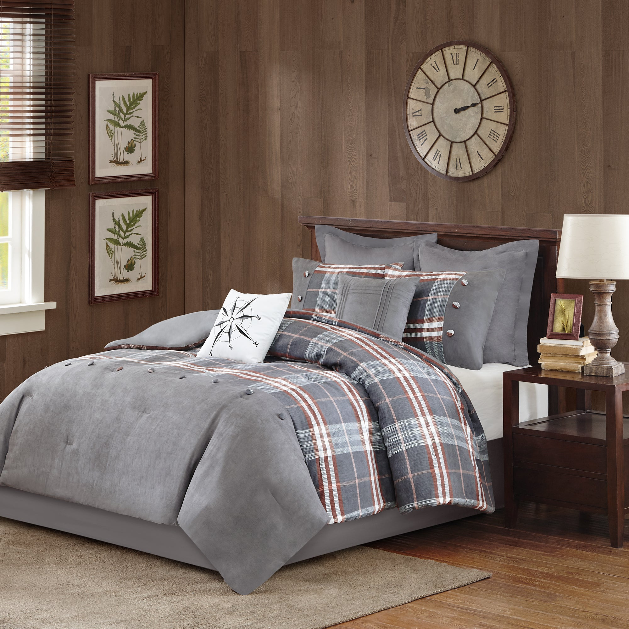 Woolrich Woodlands Grey Red forter 8 Piece Set Free Shipping