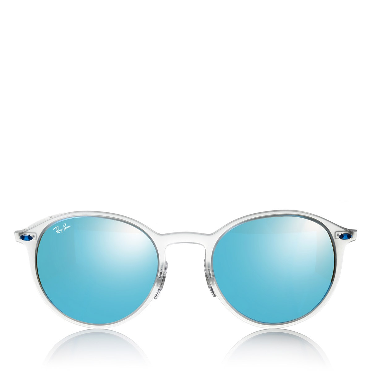 7aa6dbca9fda7 Shop Ray-Ban RB4224 Round Light Ray Unisex Transparent Silver Frame Blue  Mirror Lens Sunglasses - Free Shipping Today - Overstock - 12392905