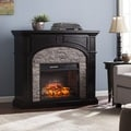 Harper Blvd Kelley Black and Gray Stacked Faux Stone Infrared Electric Fireplace