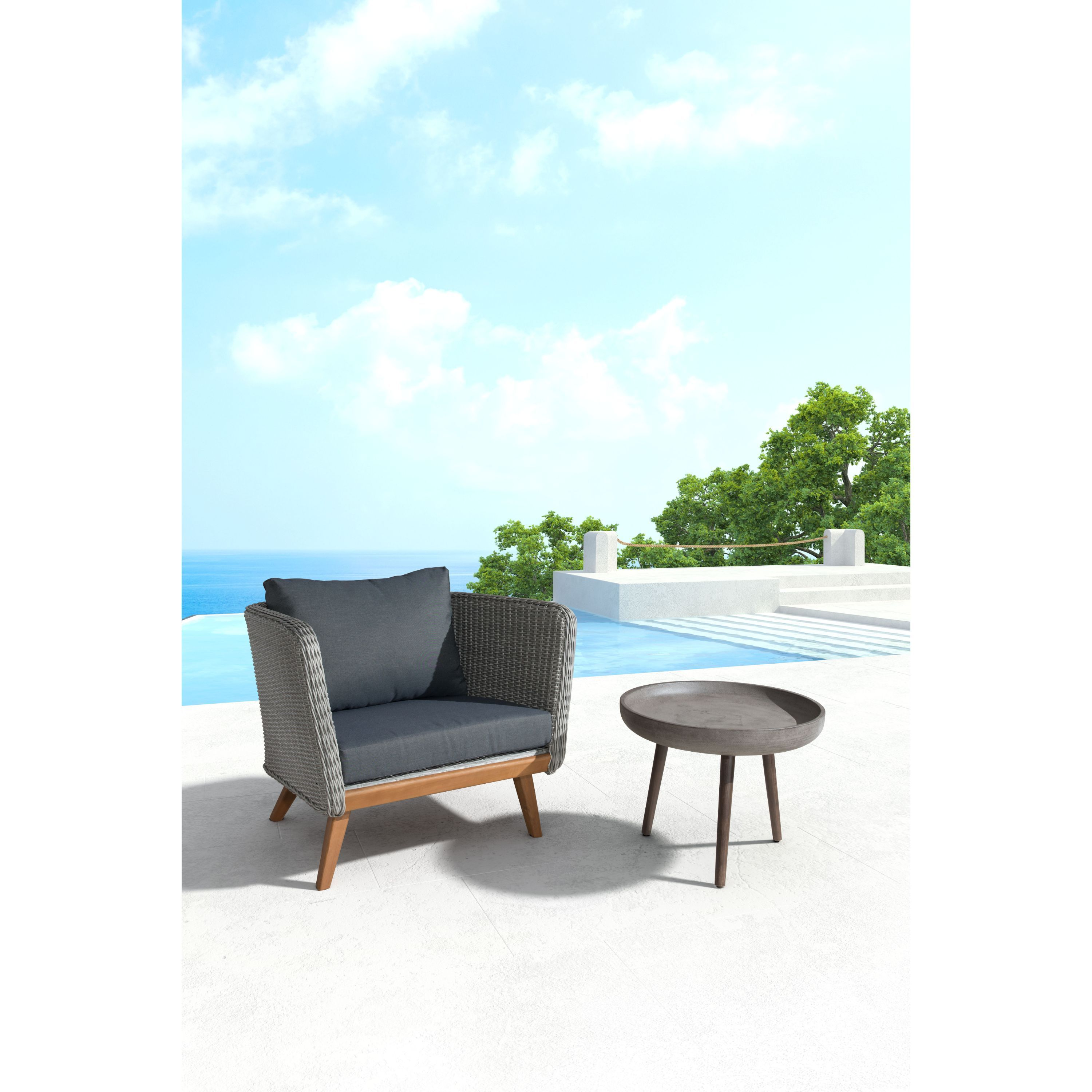 Shop Zuo Brother Polycement Acacia Wood Side Table Free Shipping - Outdoor cement side table