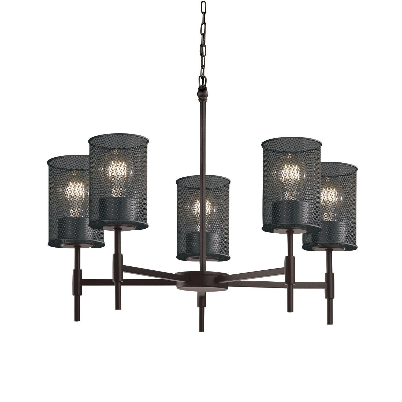 Shop Justice Design Group Wire Mesh Union 5-light Matte Black ...