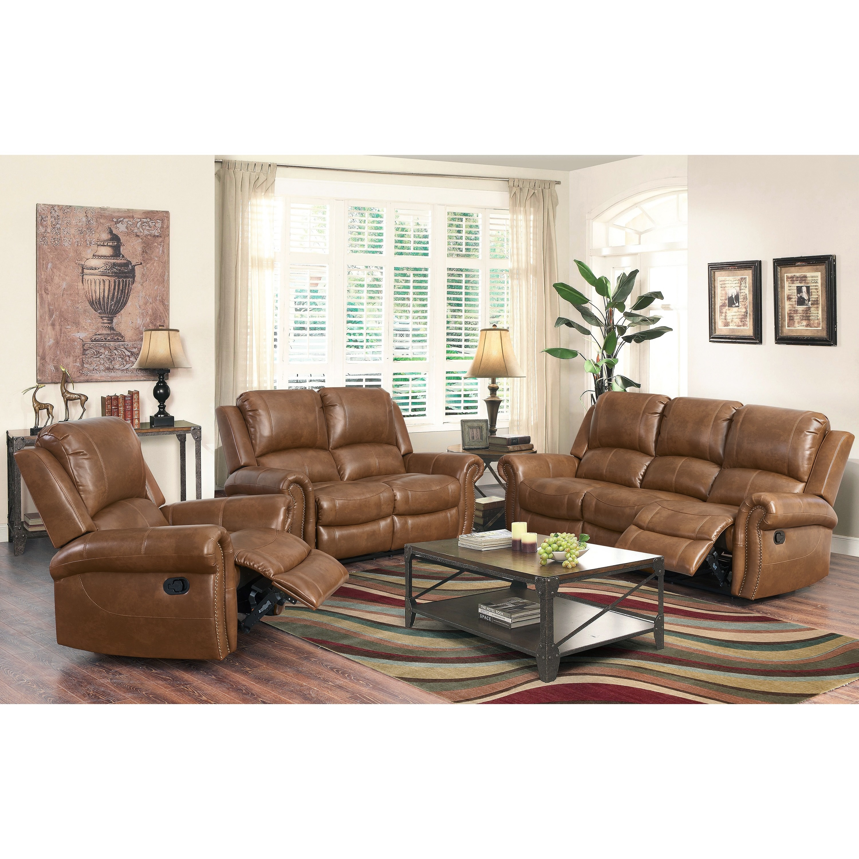 Abbyson Skyler Cognac 3 Piece Leather Reclining Set Free