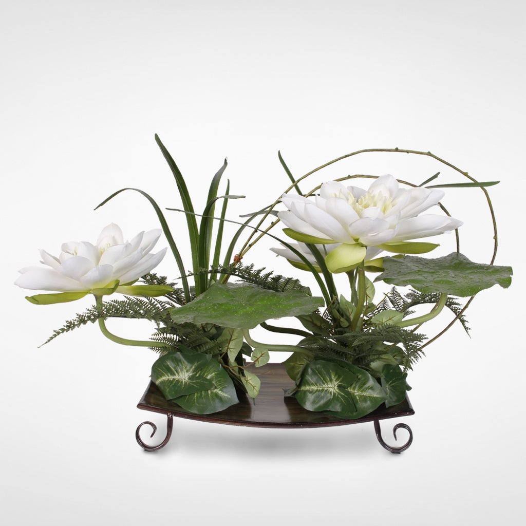 Silk White Water Lily With Water Drops On Leaves Arrangement On A