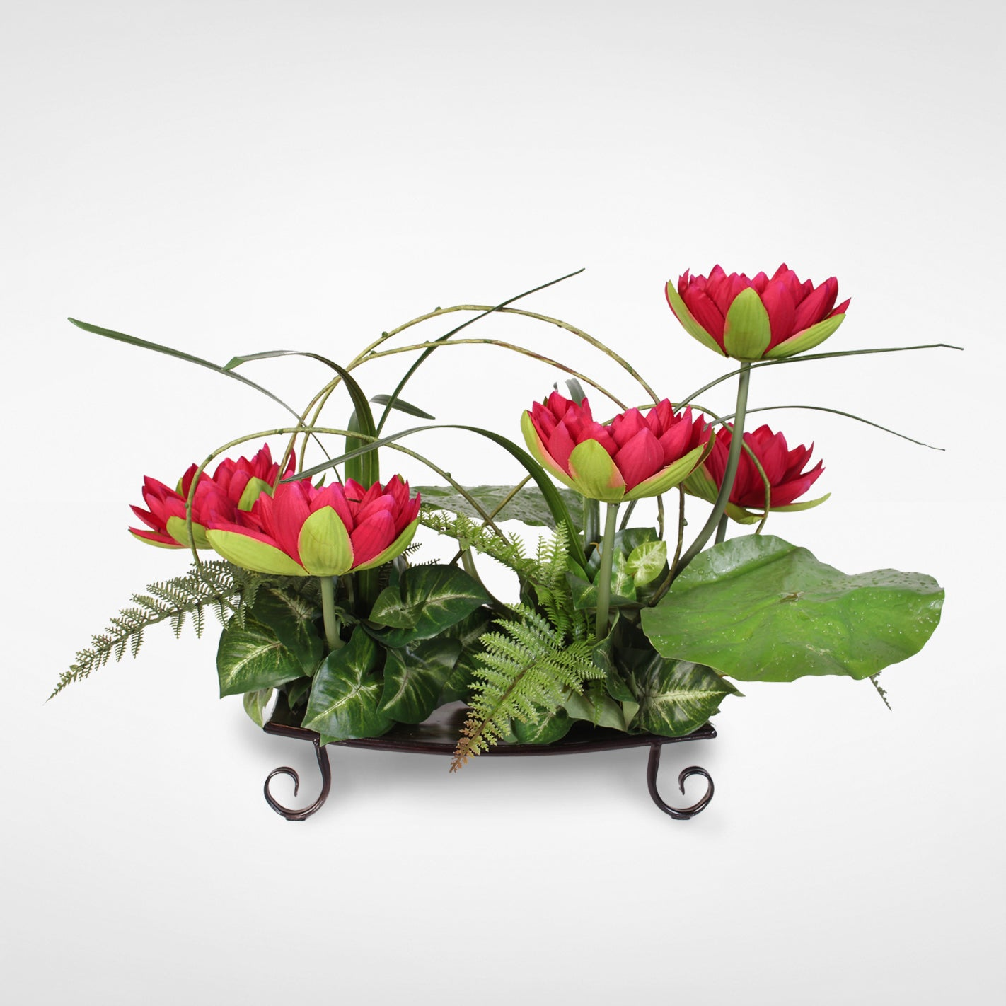Silk burgundy water lily with water drops on leaves arrangement on a silk burgundy water lily with water drops on leaves arrangement on a metal tray free shipping today overstock 19221454 izmirmasajfo