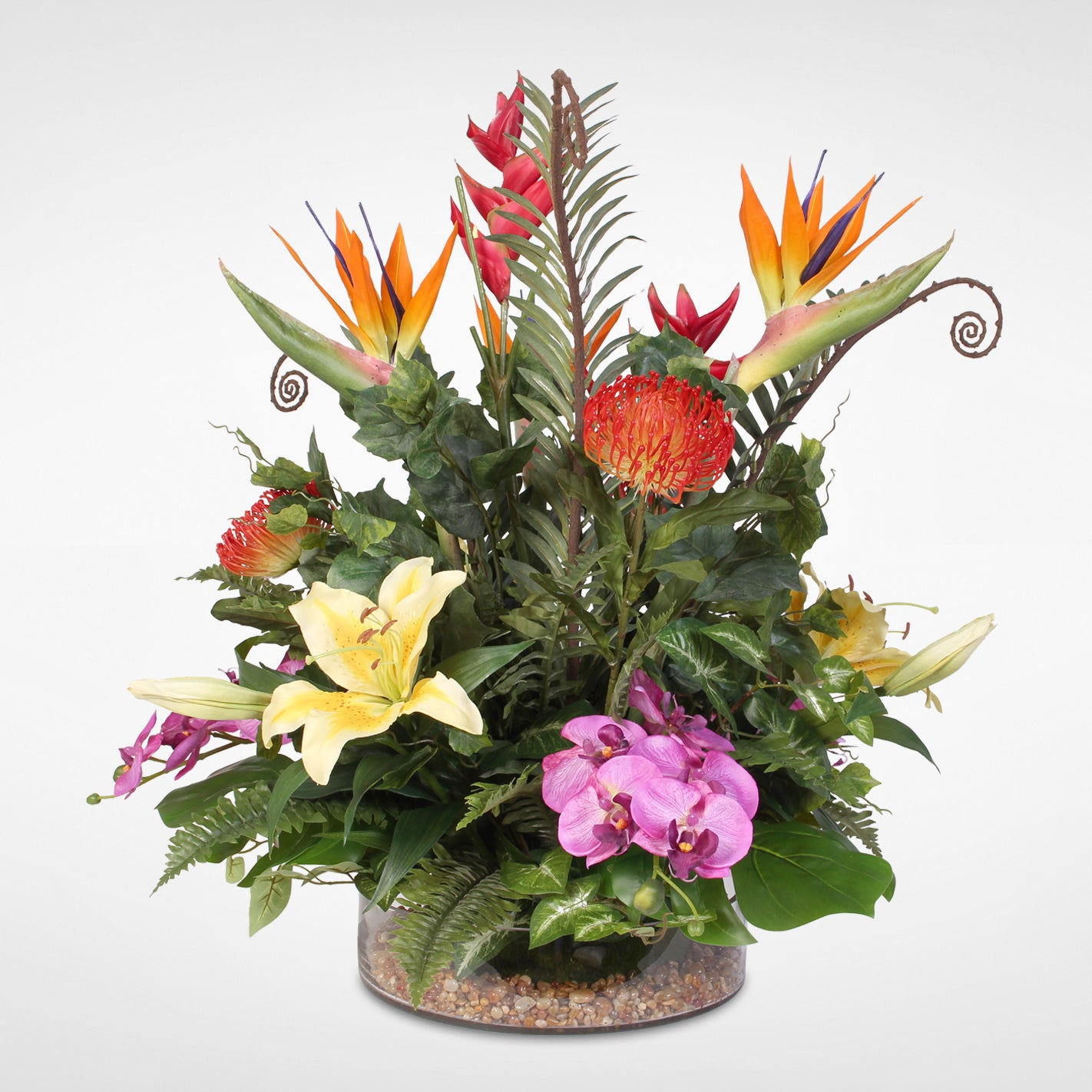 Shop Tropical And Exotic Silk Flower Arrangement With Natural Rocks