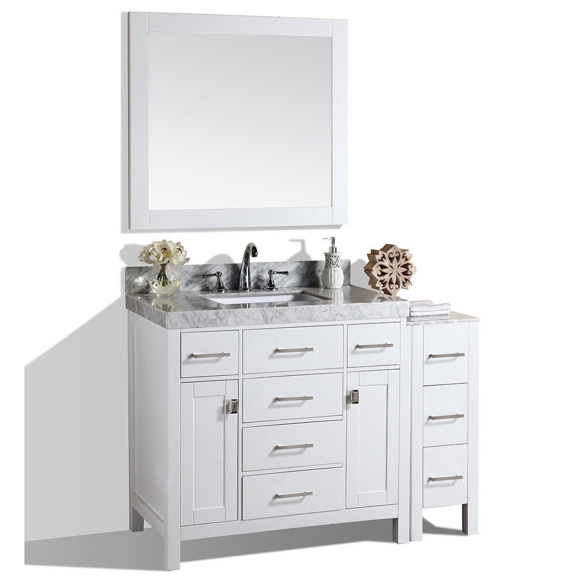Pacific Collection Malibu 52-inch White Single Marble Top Bathroom ...