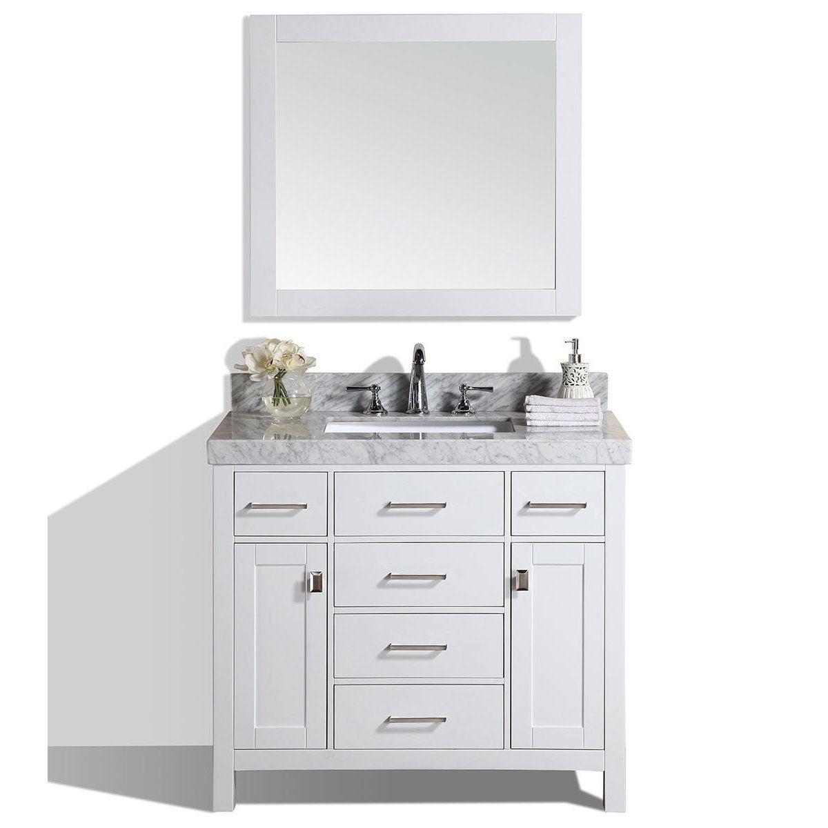 Shop 40 Malibu White Single Modern Bathroom Vanity With White