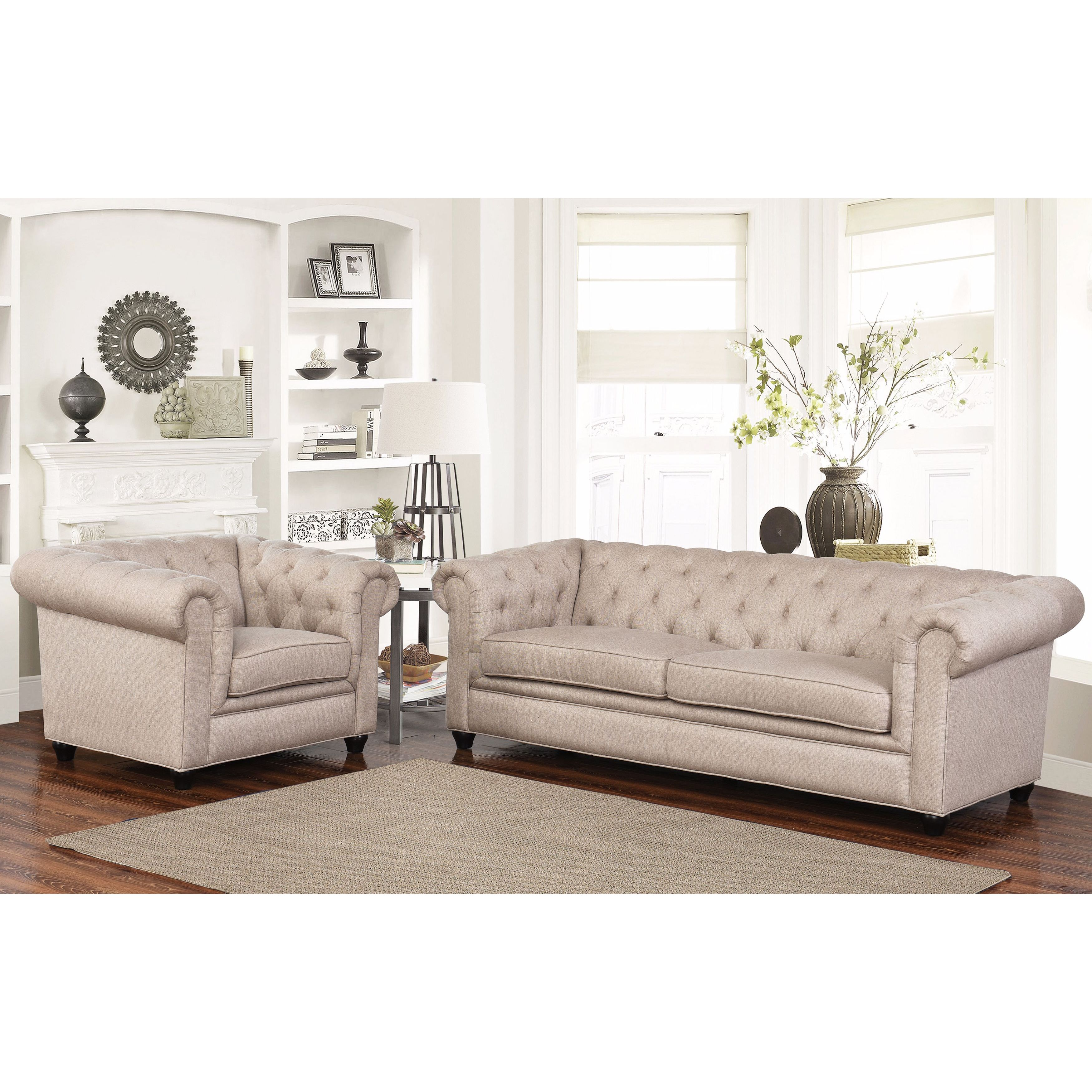 Abbyson Tuscan Beige Chesterfield Fabric 2 Piece Living Room Set ...