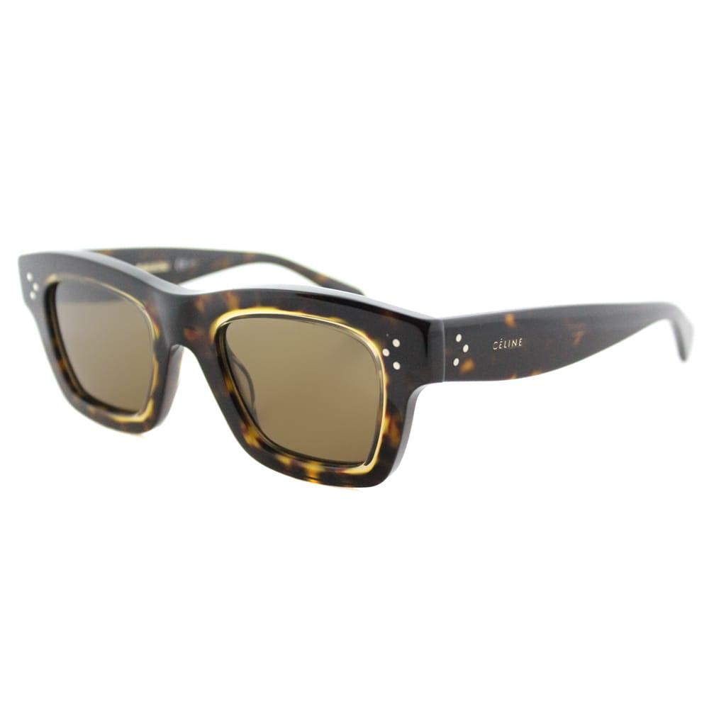42e4a9f0f51 Celine CL 41396 T7F Gaby Dark Havana Honey Plastic Rectangle Brown Lens  Sunglasses