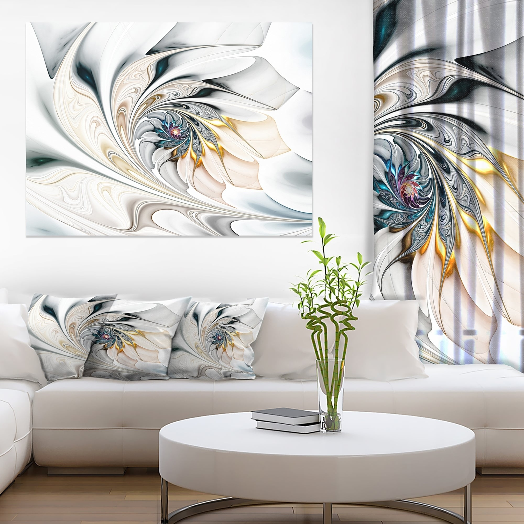 Design Art White Stained Glass Large Floral Wall Art Canvas - Free ...