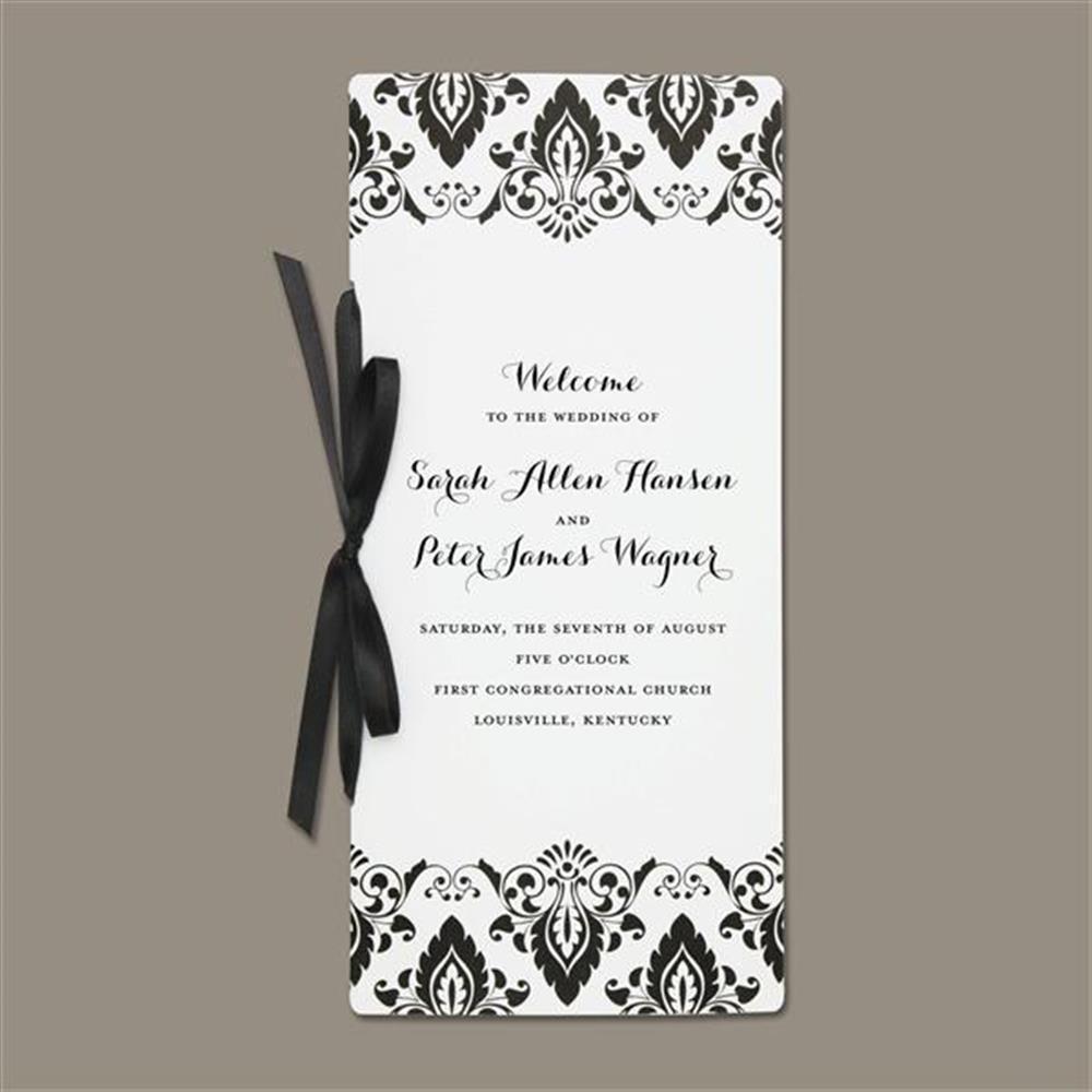 Shop Brides Black/White Damask Program Paper (Pack of 40) - Free ...