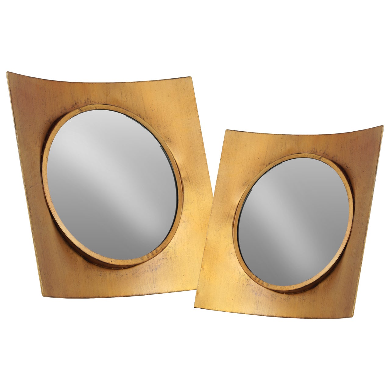 Shop Metal Wall Mirror with Concave Square Wood Frame Set of Two ...
