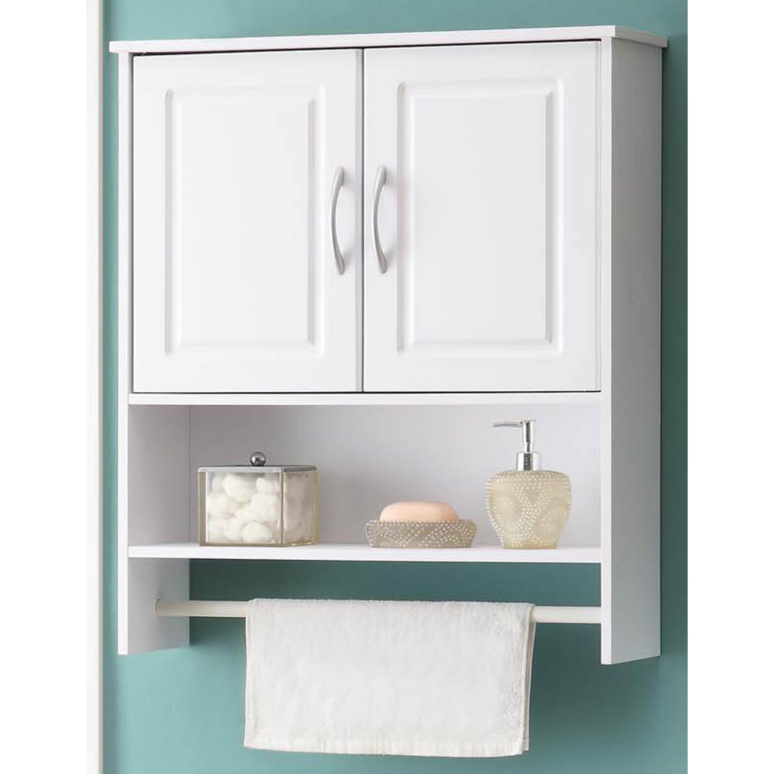 Genial Shop Bathroom White Water Resistant Laminate Wall Cabinet With Towel Rack    Free Shipping Today   Overstock   12427041