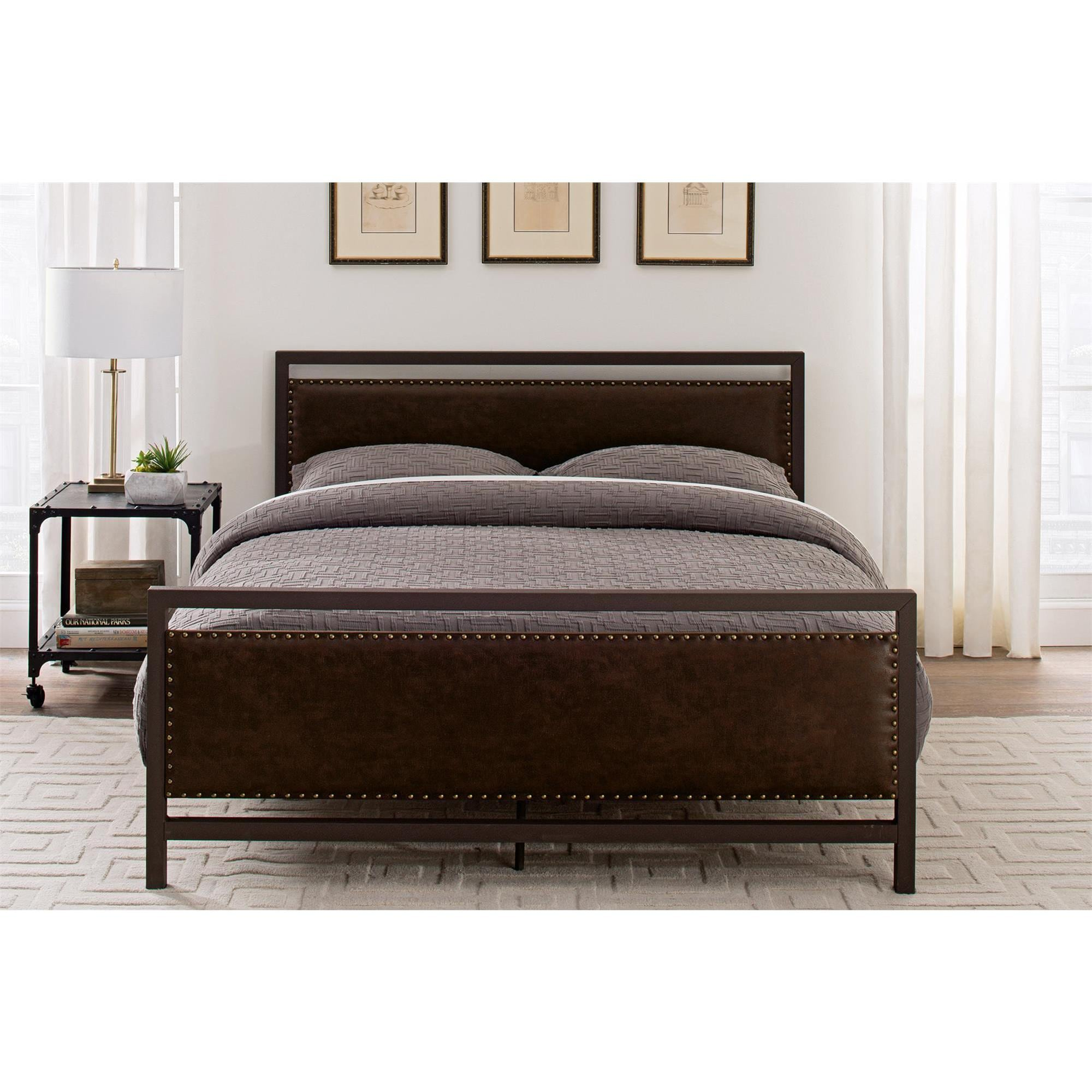DHP Vintage Brown Metal and Upholstered Queen Bed - Free Shipping ...