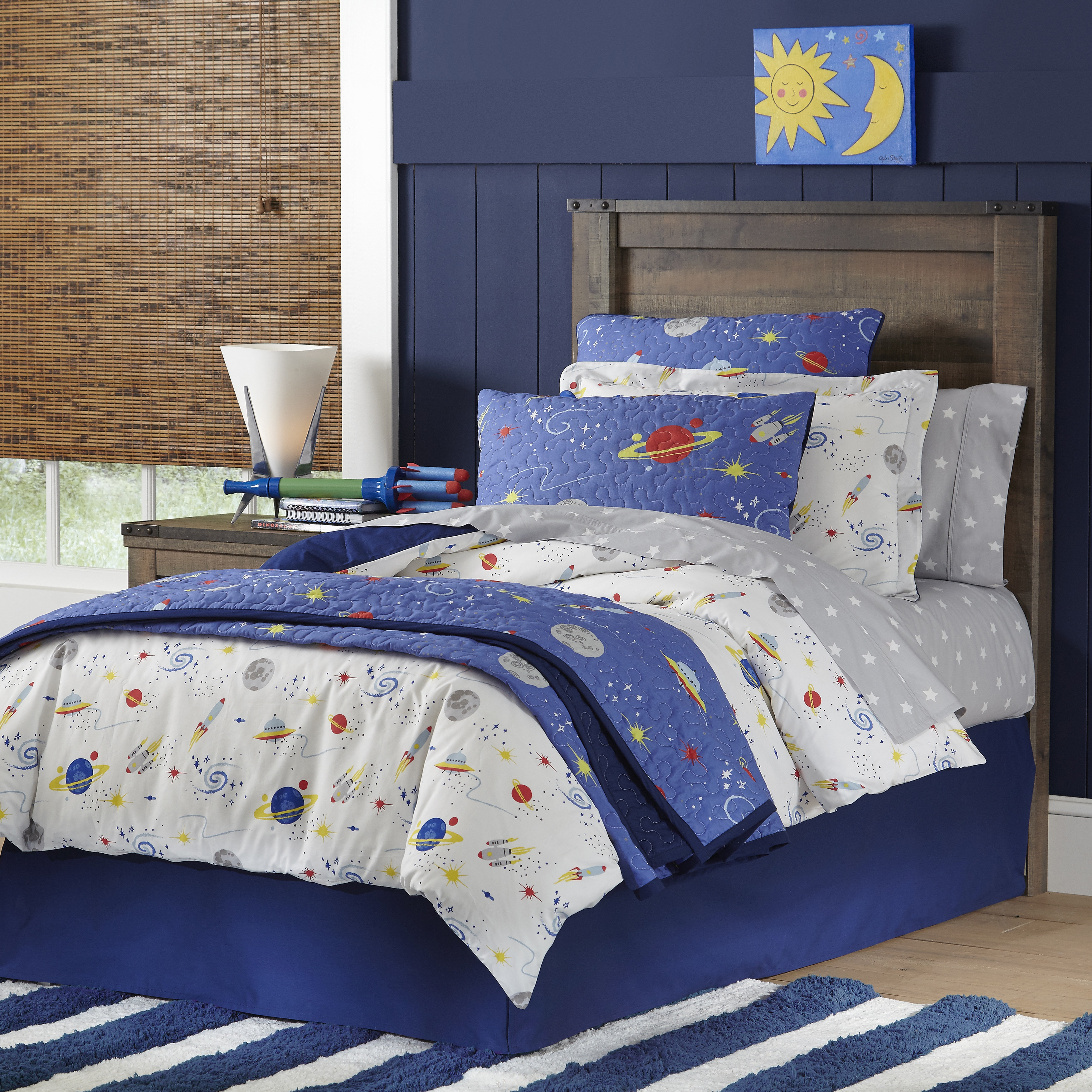 shop lullaby bedding space collection cotton printed 4 piece comforter set on sale free shipping today overstockcom 12431344 - Space Bedding
