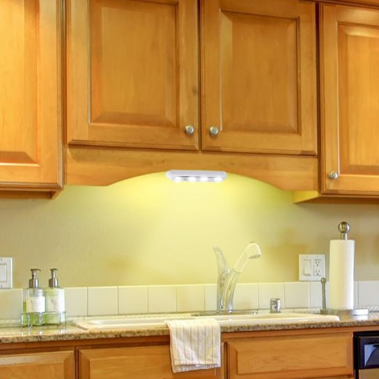 Shop White Acrylic LED Stick On Under Cabinet Lights (Set Of 2)   Free  Shipping On Orders Over $45   Overstock.com   12431586