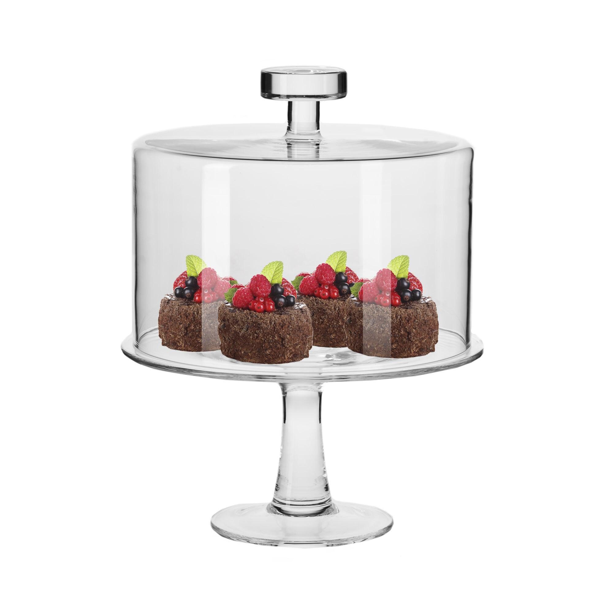 Krosno June 11 inch Diameter Handmade Cake Stand with Glass Cover