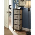 Windsor Brown/Black Wicker/Slate/Metal 4-basket Drawer Unit