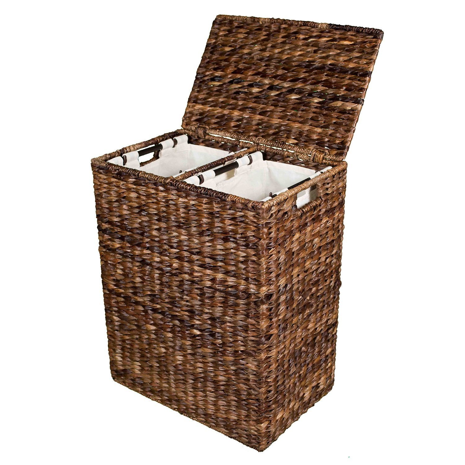 Shop birdrock home abaca divided laundry hamper free shipping today overstock com 12433585