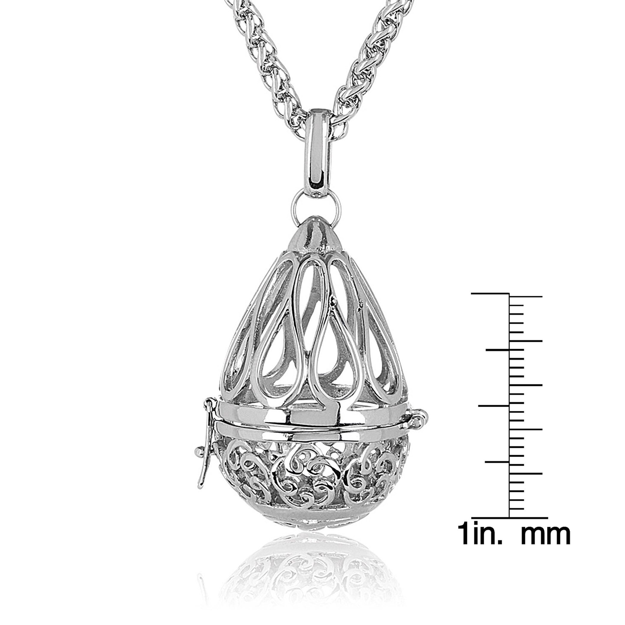 stainless jewelry steel overstock wheat over lockets shipping high pendant necklace floral free elya open chain inch teardrop orders watches product polish locket on