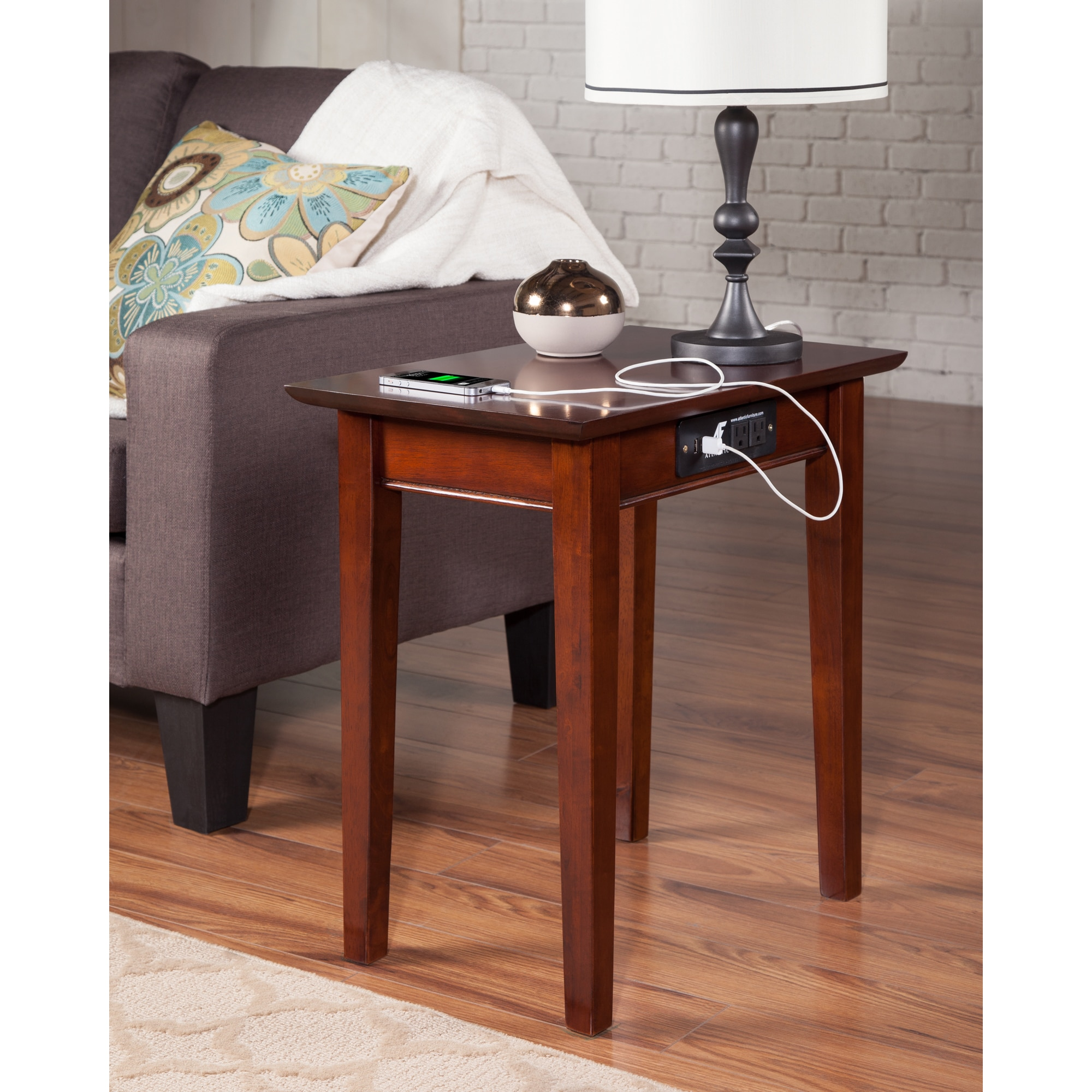 Shaker Chair Side Table With Charging Station In Walnut