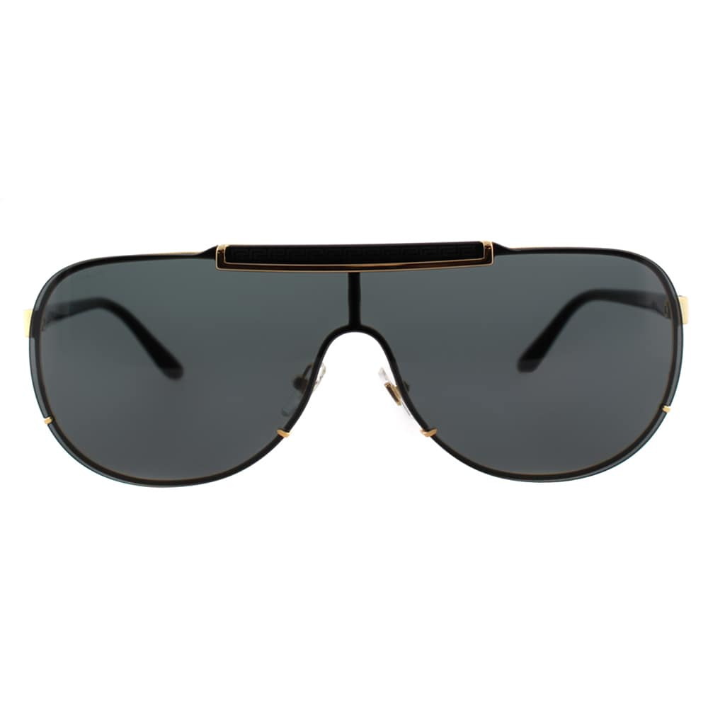 e78e89c7014 Shop Versace VE 2140 100287 Gold And Black Metal Grey Lens Sunglasses -  Free Shipping Today - Overstock - 12435068