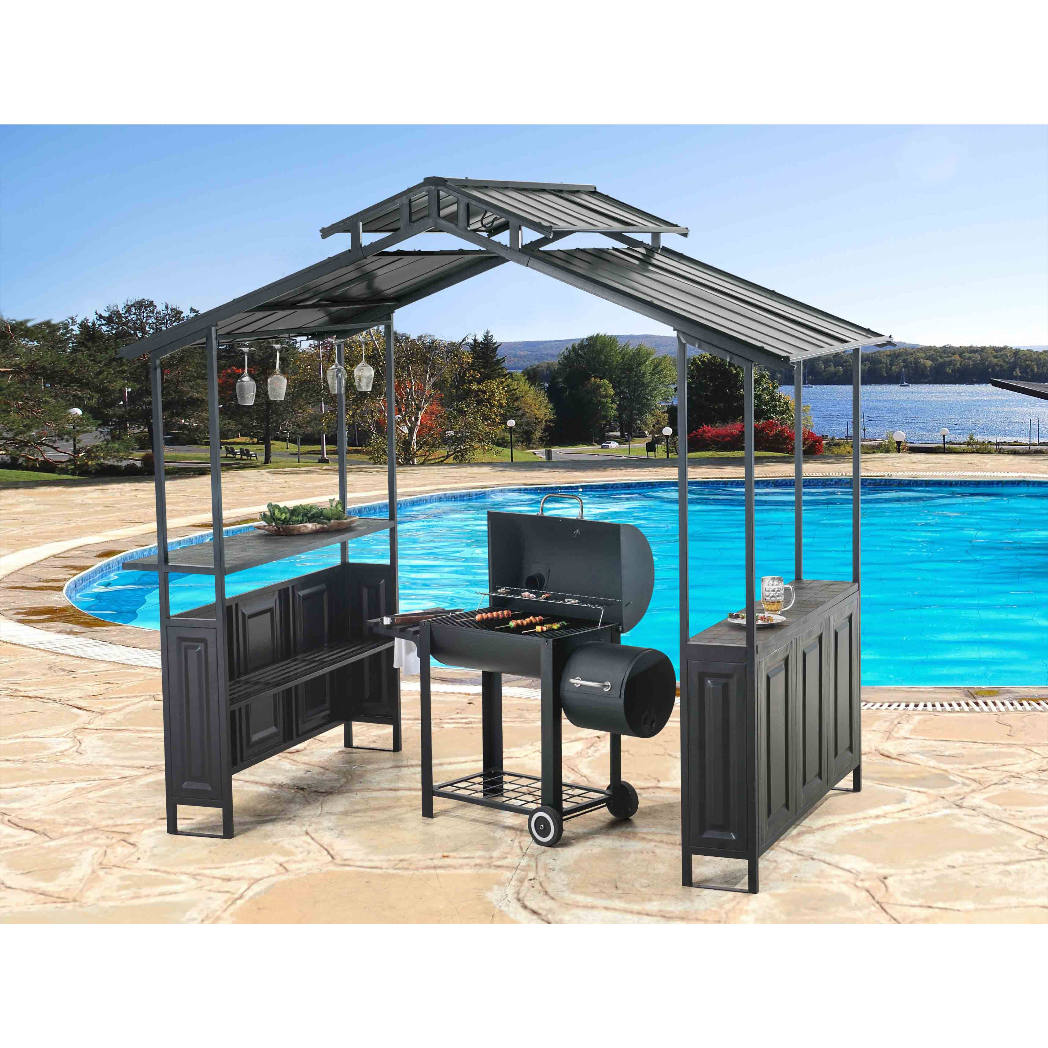 Sunjoy Brown Steel Deluxe 8 X 5 Hard Top Grill Shelter With Serving Bar Free Shipping Today 19255562