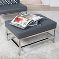Studio Designs Home Ashlar Grey/Brown Bonded Leather Ottoman