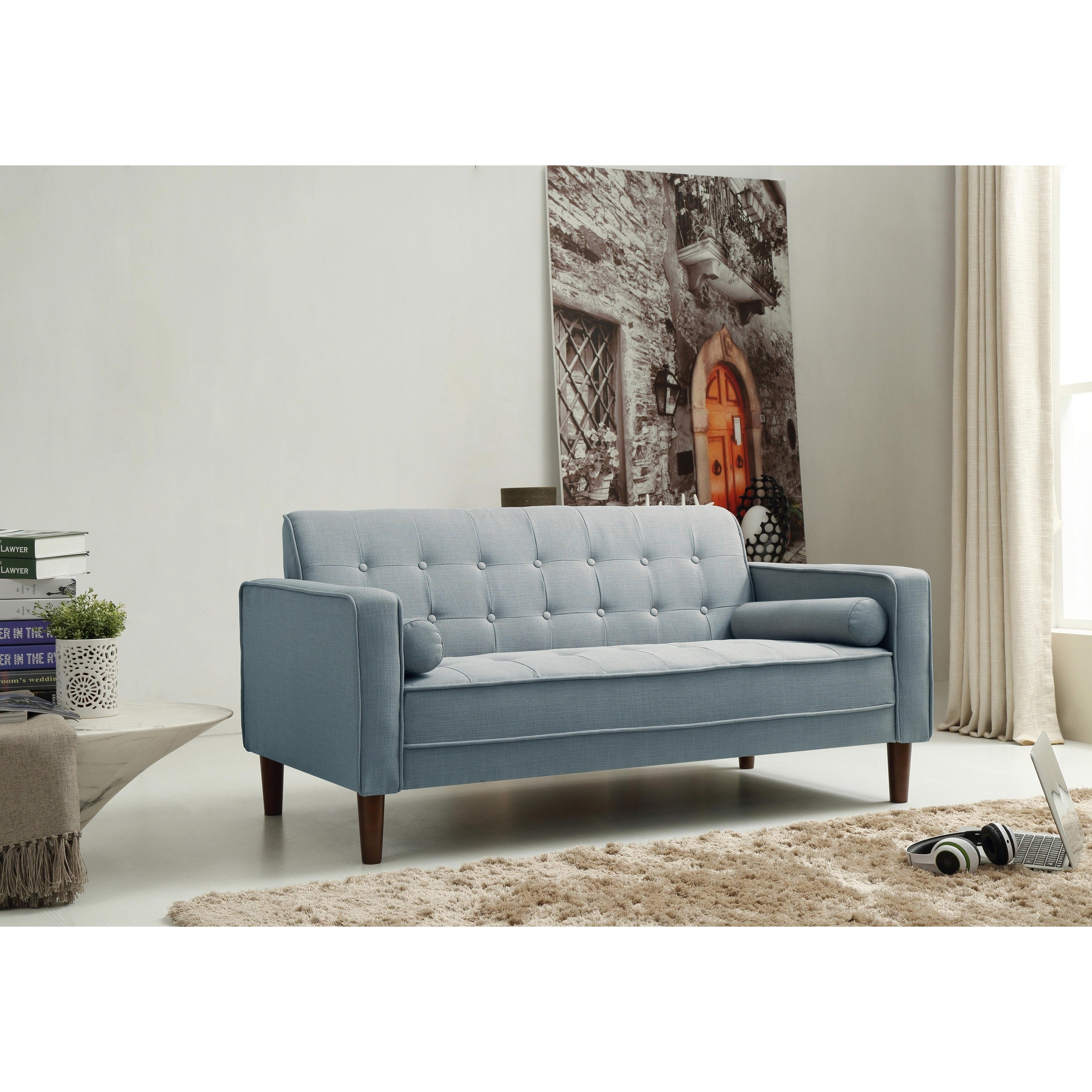 Beau Shop Nathaniel Home Nolan Tufted Blue Linen Sofa   On Sale   Free Shipping  Today   Overstock.com   12443176