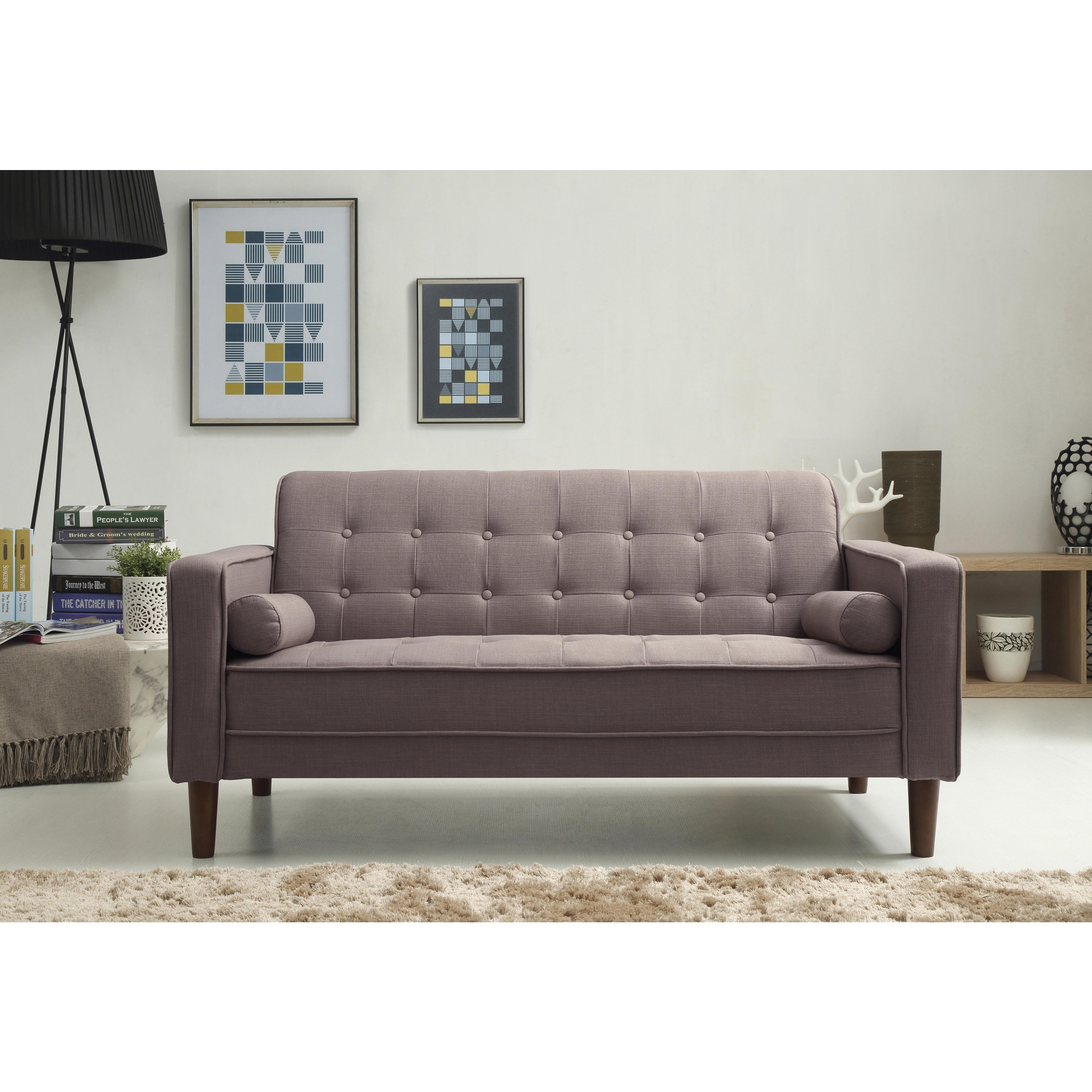 Charmant Shop Nathaniel Home Nolan Tufted Grey Linen Sofa   Free Shipping Today    Overstock.com   12443177