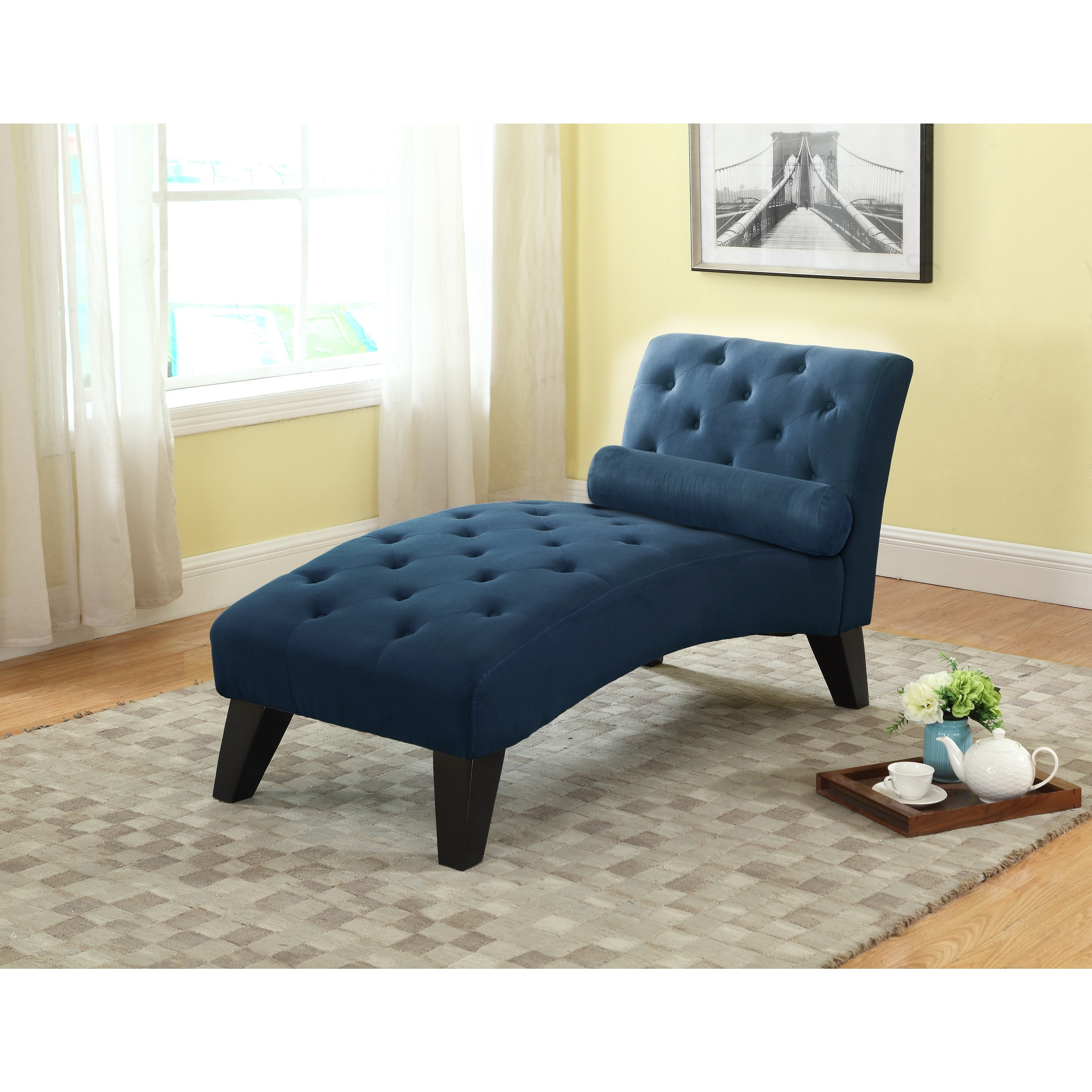 Clay Alder Home Rialto Tufted Blue Microfiber Chaise Lounge Free Shipping Today 23122759