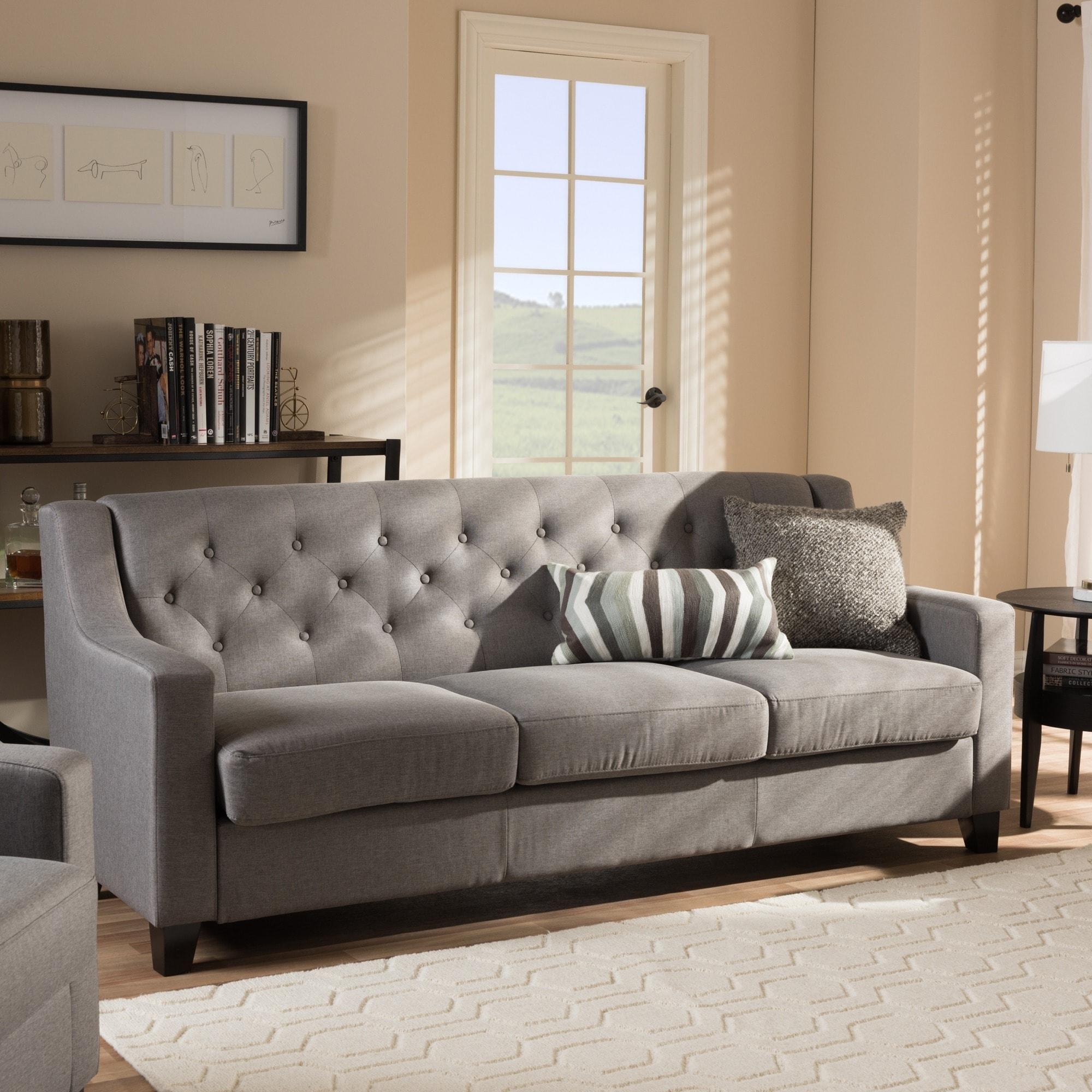 shop copper grove muir modern and contemporary tufted sofa free rh overstock com Small Tufted Sofa Small Tufted Sofa