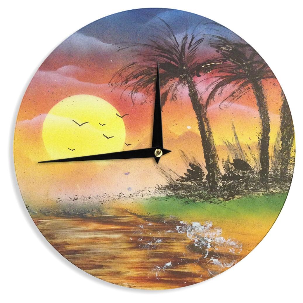 KESS InHouseInfinite Spray Art \'Maui Sunrise\' Beach Wall Clock ...